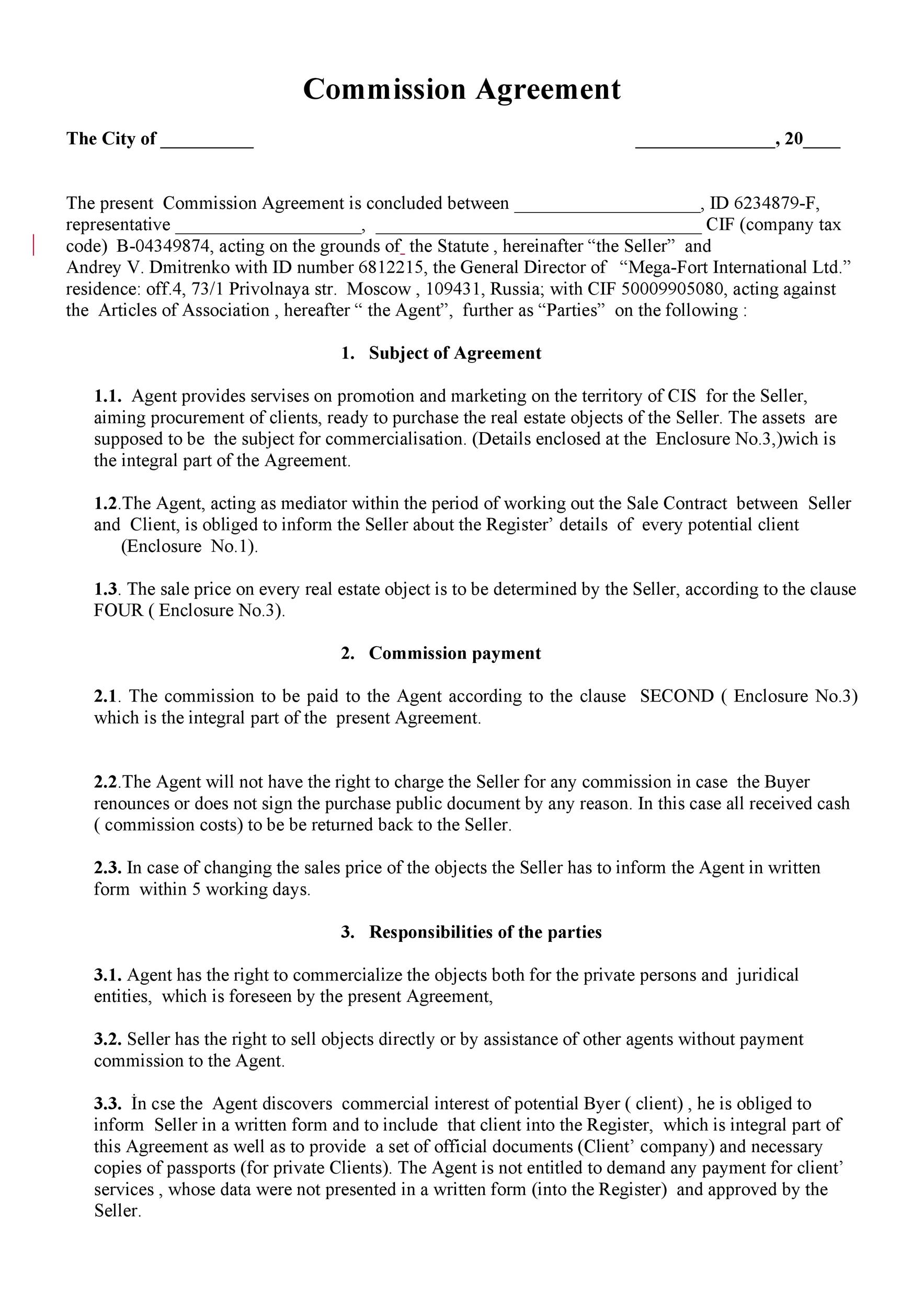Commission agreements are essentially a type of agency agreement, under which the agent acts as a representative of its principal but has no authority to enter. Free Sales Commission Structure Template