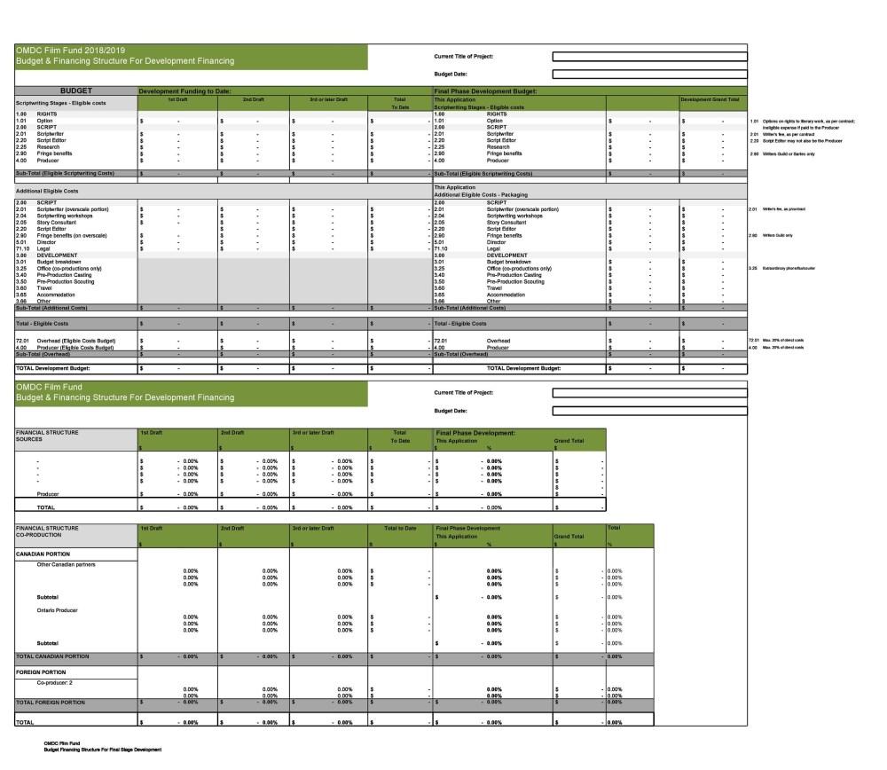 medium resolution of free film budget template 20