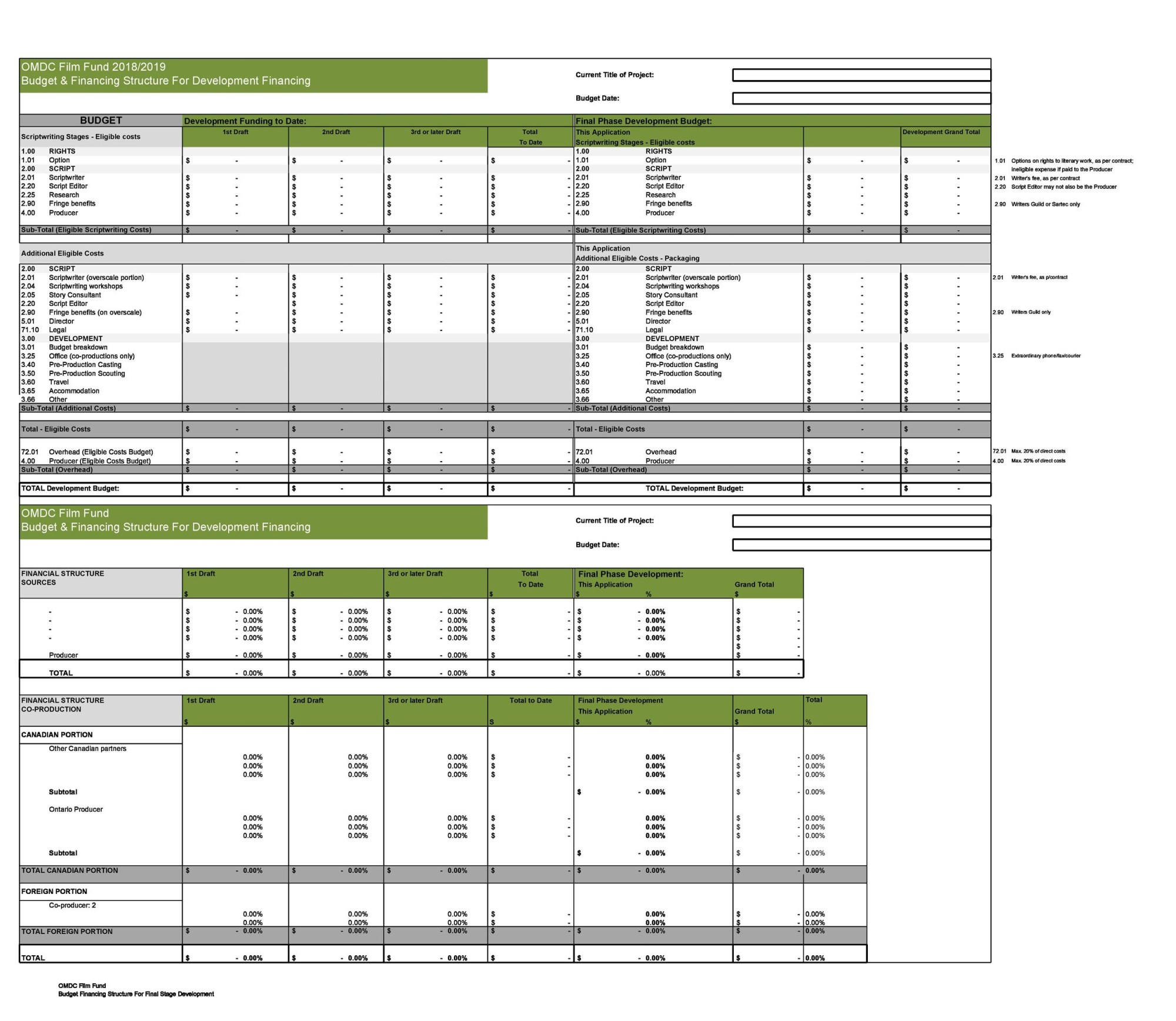 hight resolution of free film budget template 20