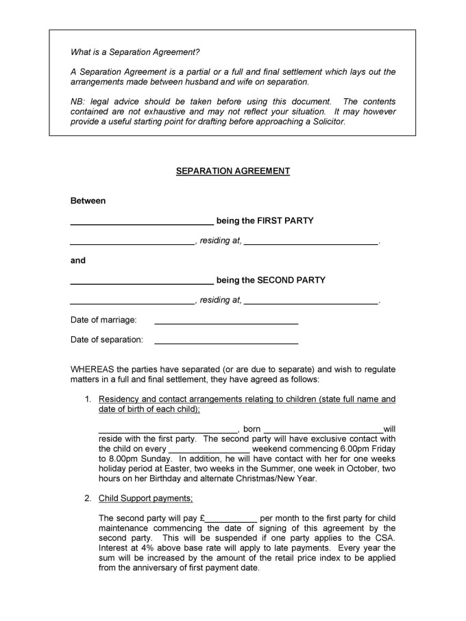 Letter Of Separation From Spouse Template Its Your Template