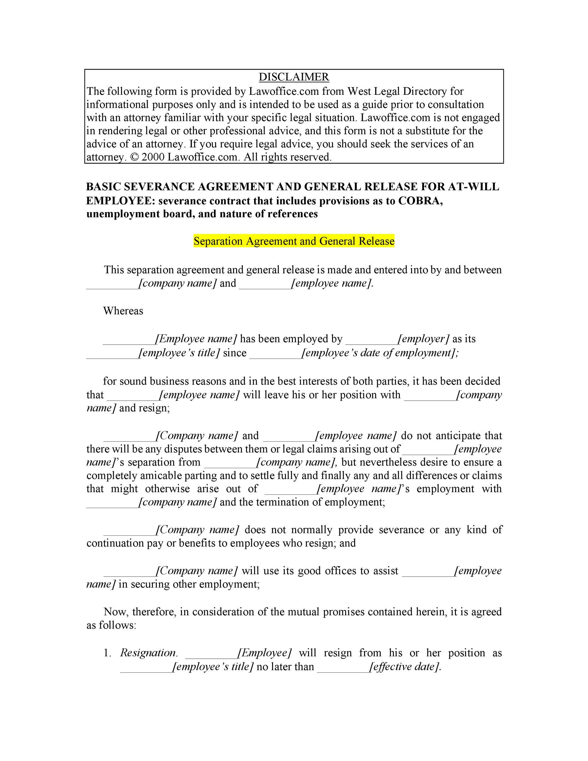 Employment Separation Agreement Employment Separation Agreement