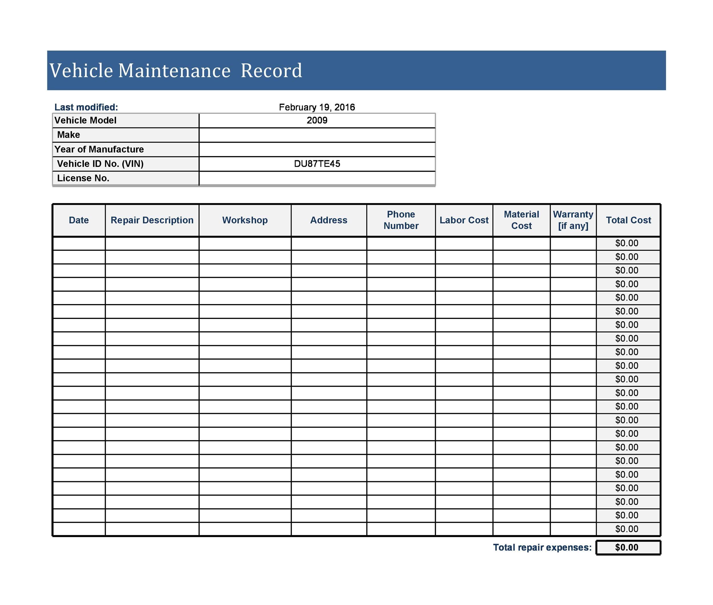 43 Printable Vehicle Maintenance Log Templates Templatelab