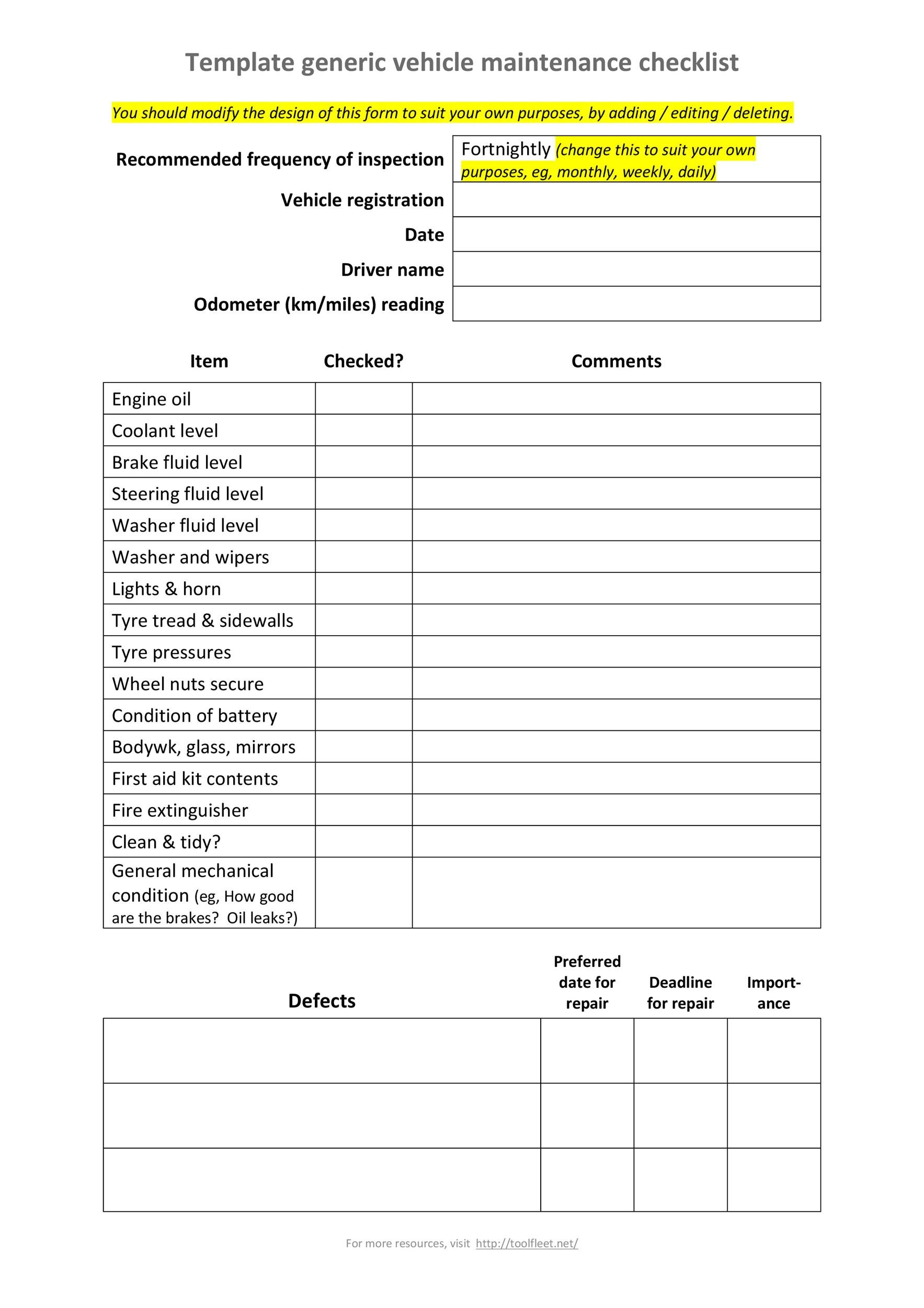 43 Printable Vehicle Maintenance Log Templates Templatelab