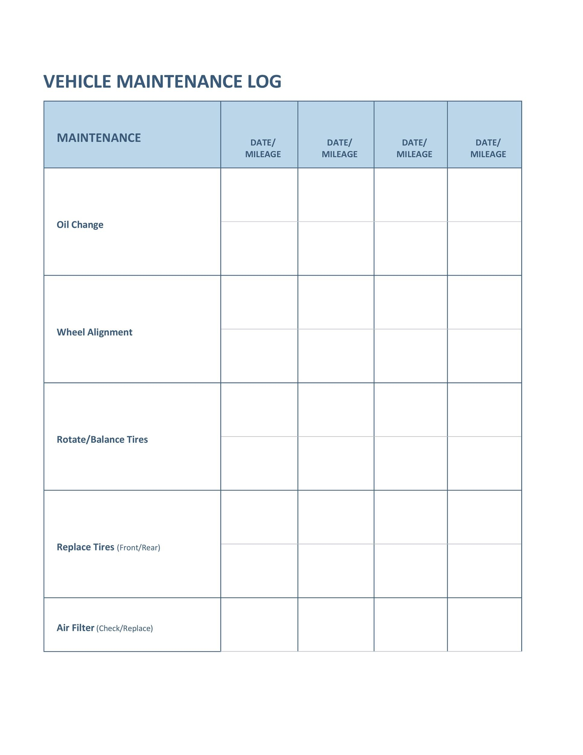 40 Printable Vehicle Maintenance Log Templates Templatelab