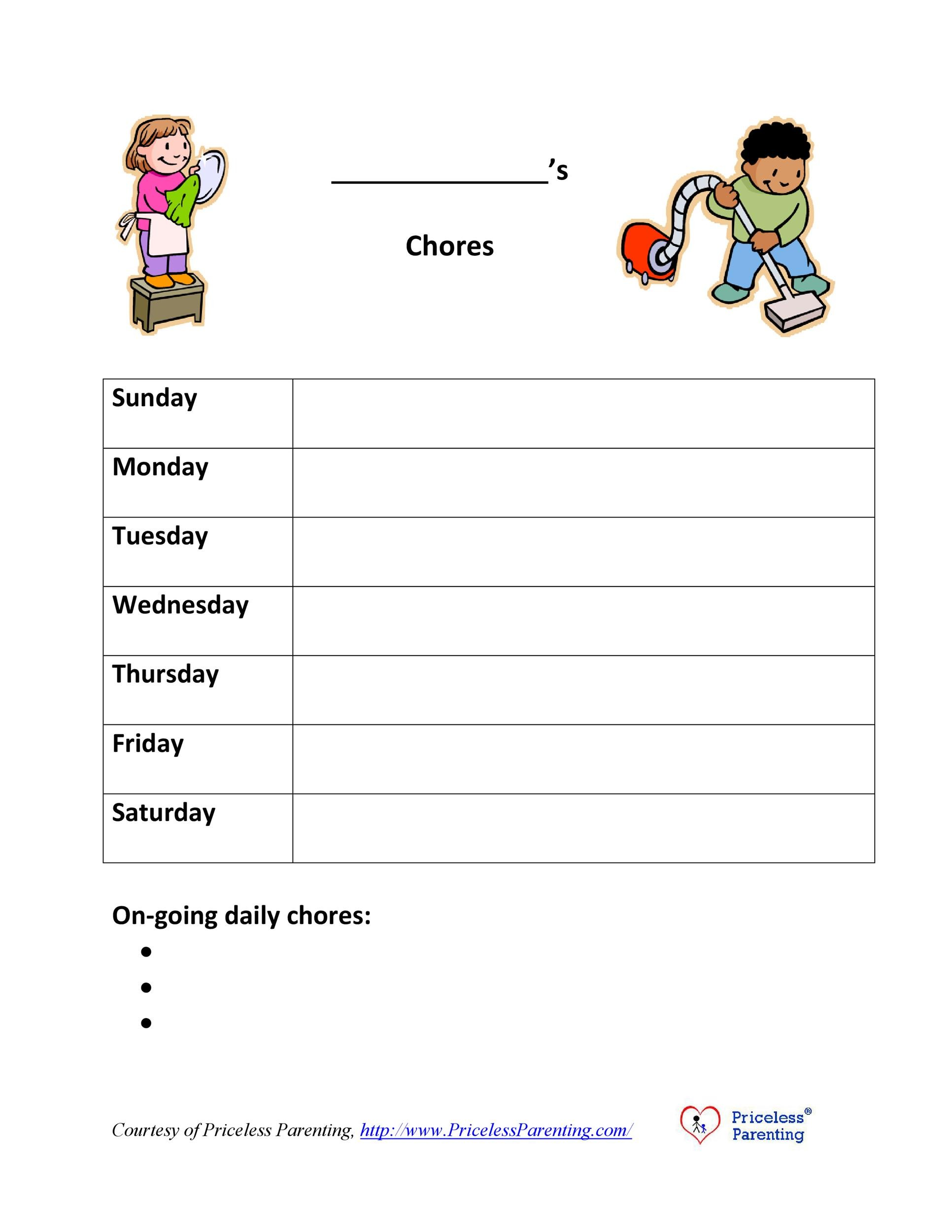 43 Free Chore Chart Templates For Kids Templatelab