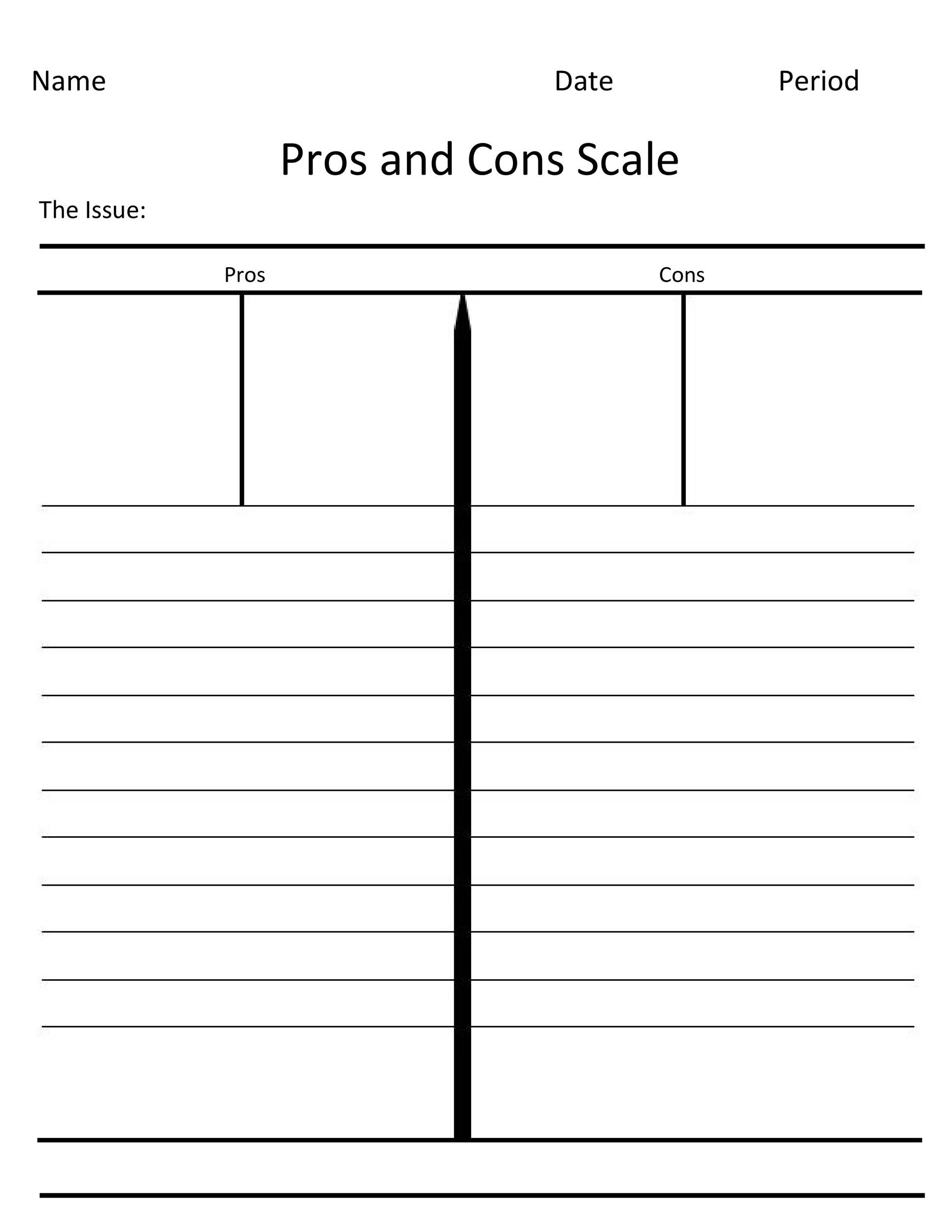 27 Printable Pros And Cons Lists Charts Templates