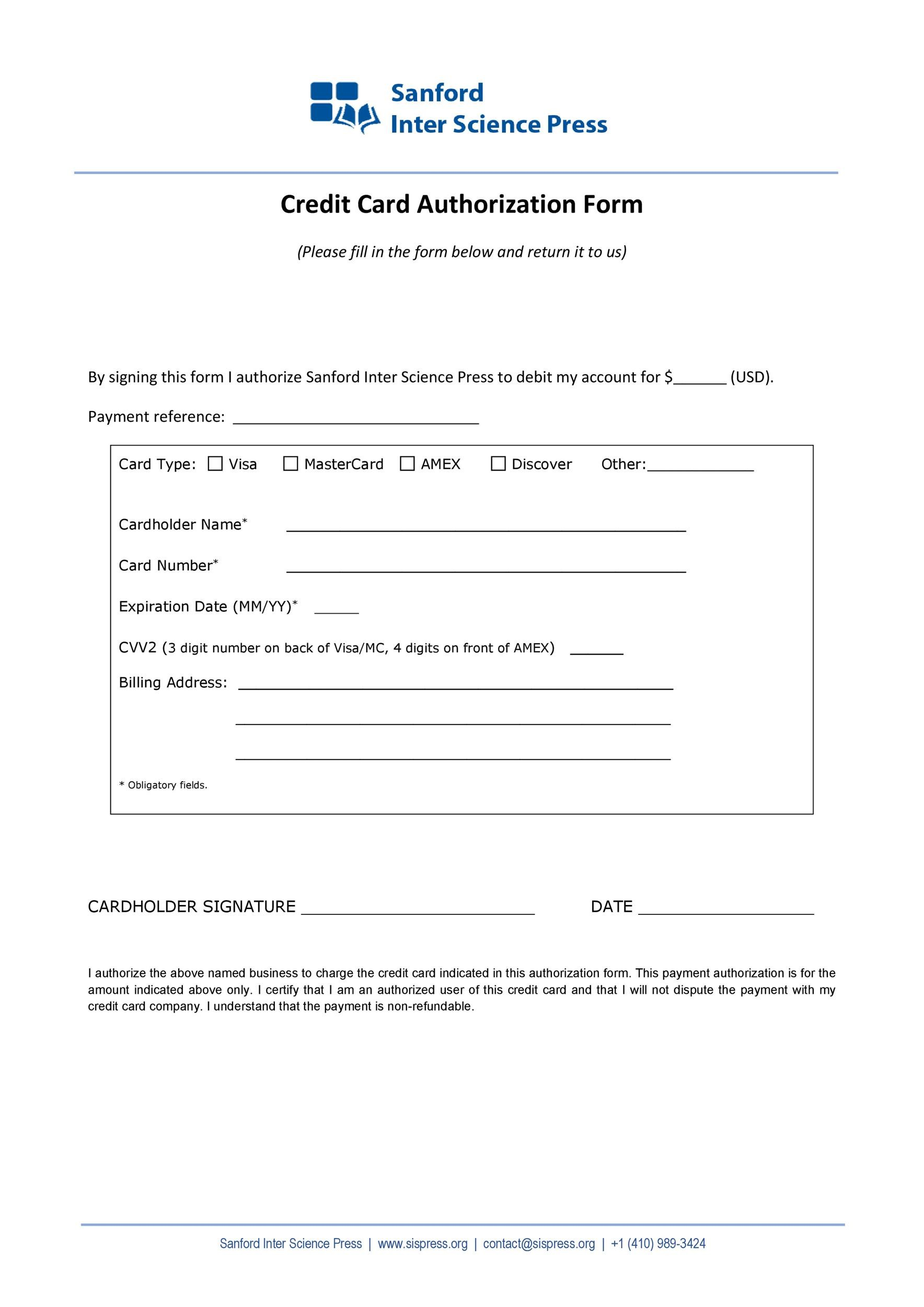 41 Credit Card Authorization Forms Templates {Ready-to-Use}