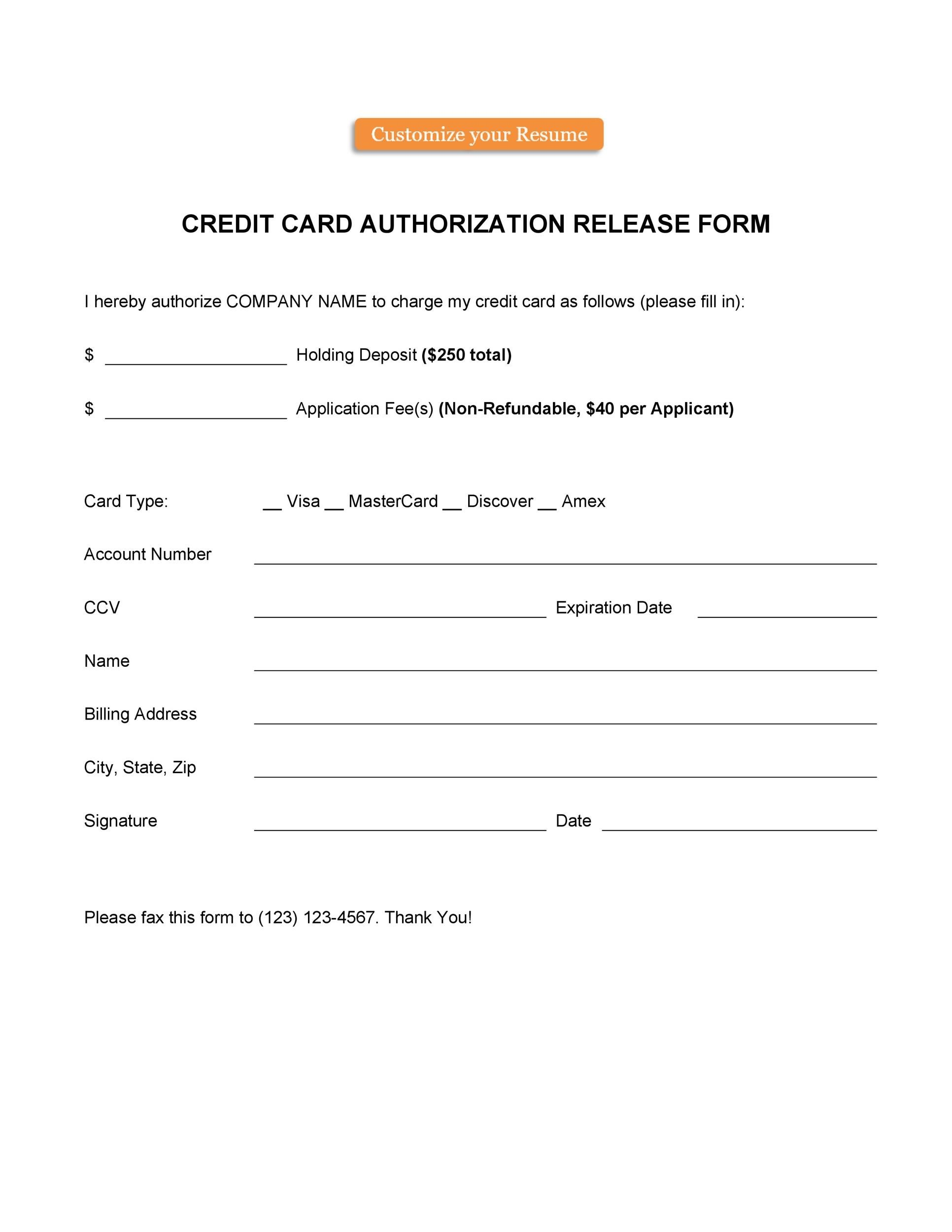 Schedule your payment to be automatically deducted from your bank account, or charged to your credit. 43 Credit Card Authorization Forms Templates Ready To Use