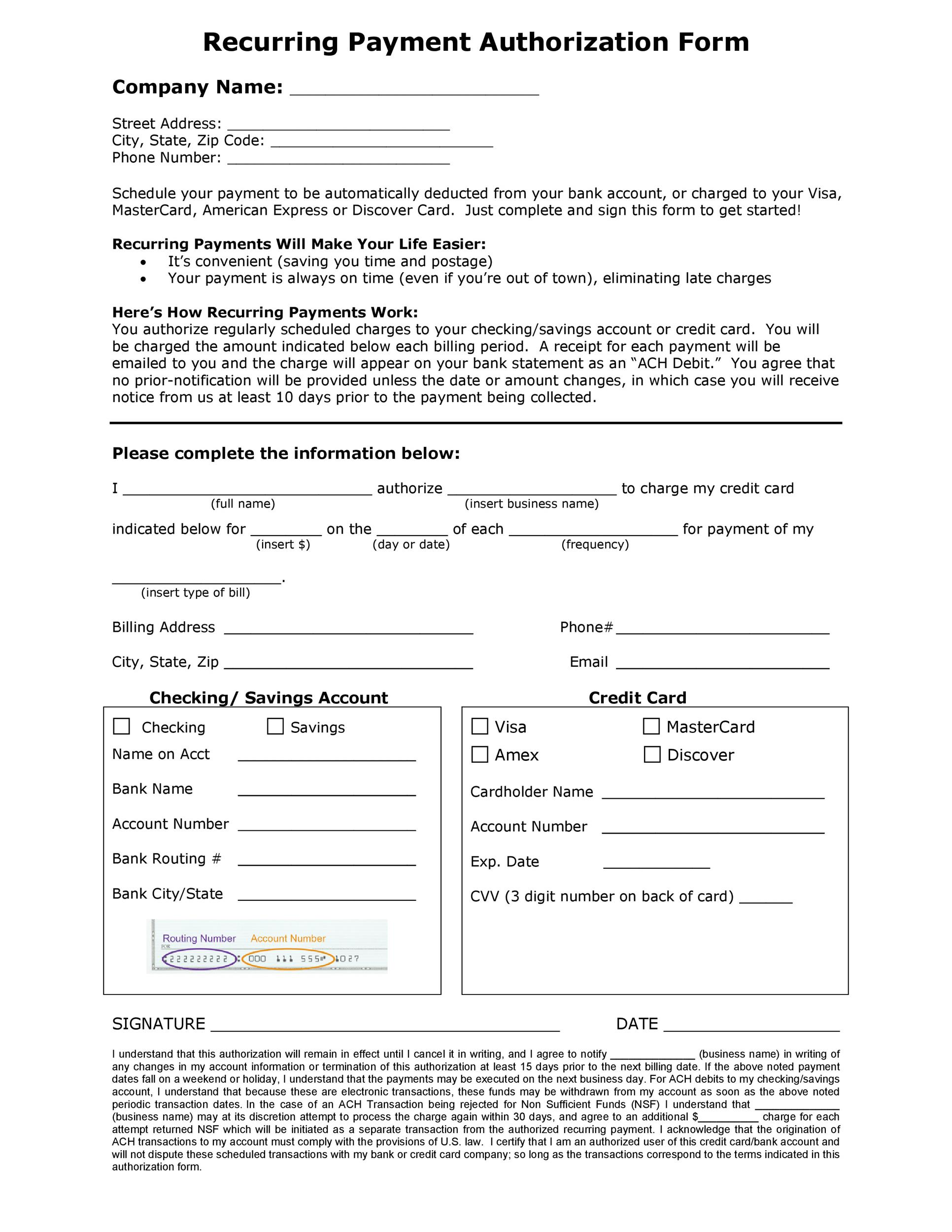 The recurring credit card authorization form is a document that will authorize a company (ie: 43 Credit Card Authorization Forms Templates Ready To Use