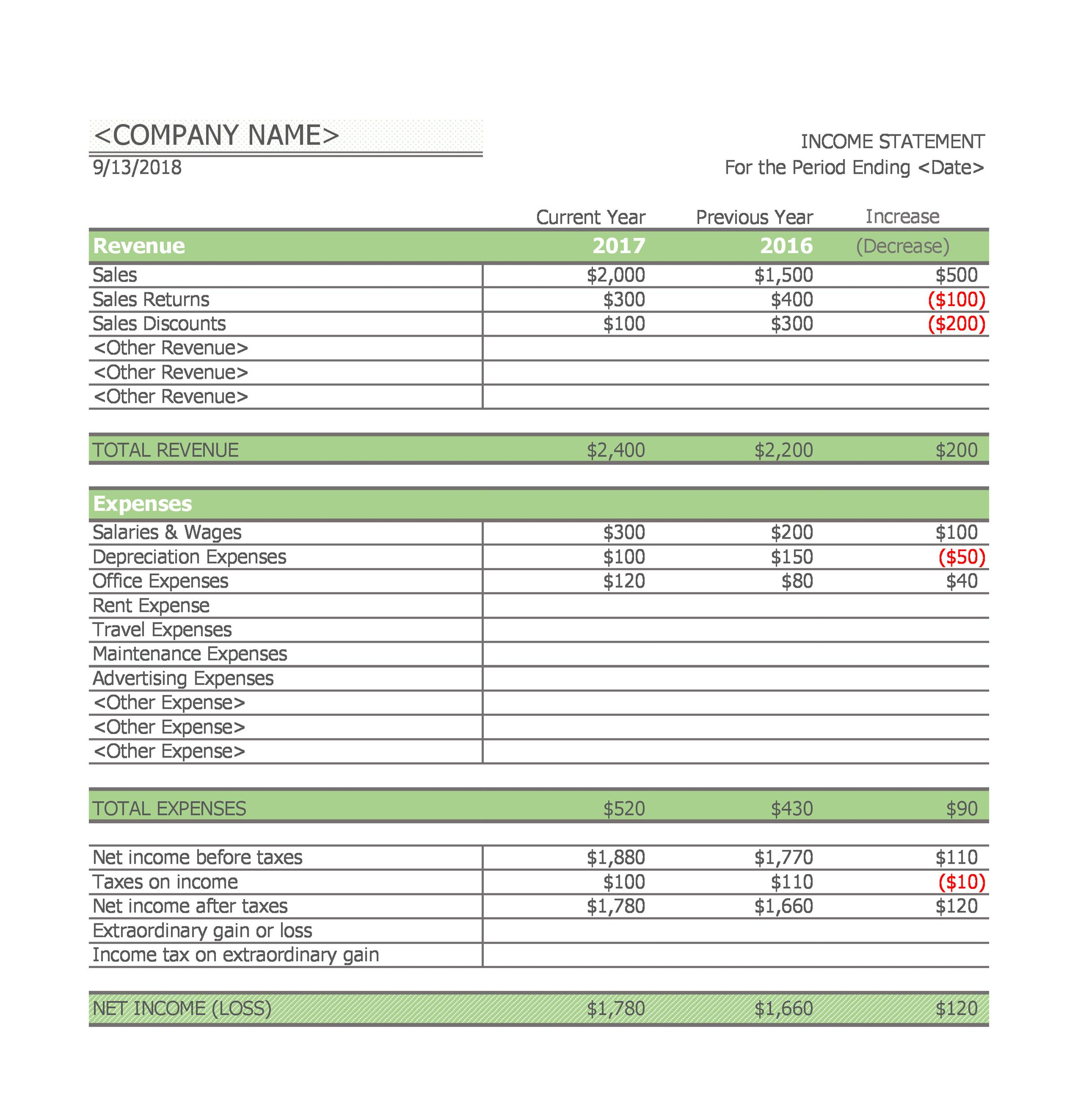 41 Free Income Statement Templates Amp Examples