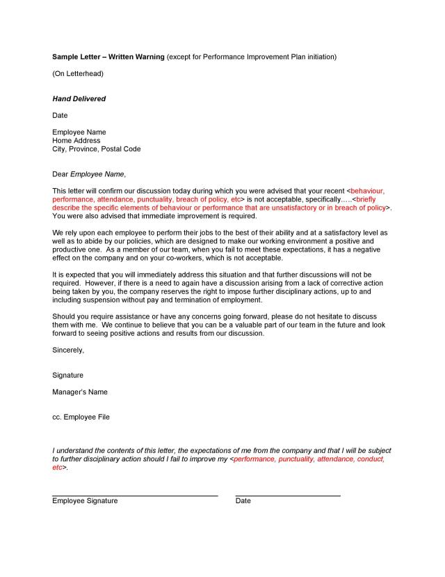 9 Professional Warning Letters (Free Templates) ᐅ TemplateLab