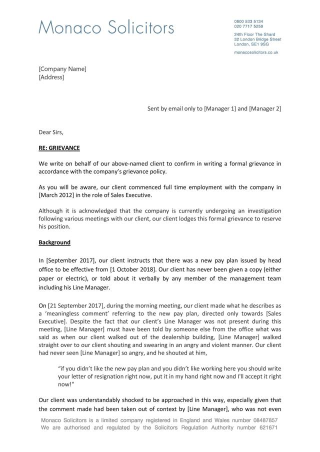 24 Editable Grievance Letters (Tips & Free Samples) ᐅ TemplateLab