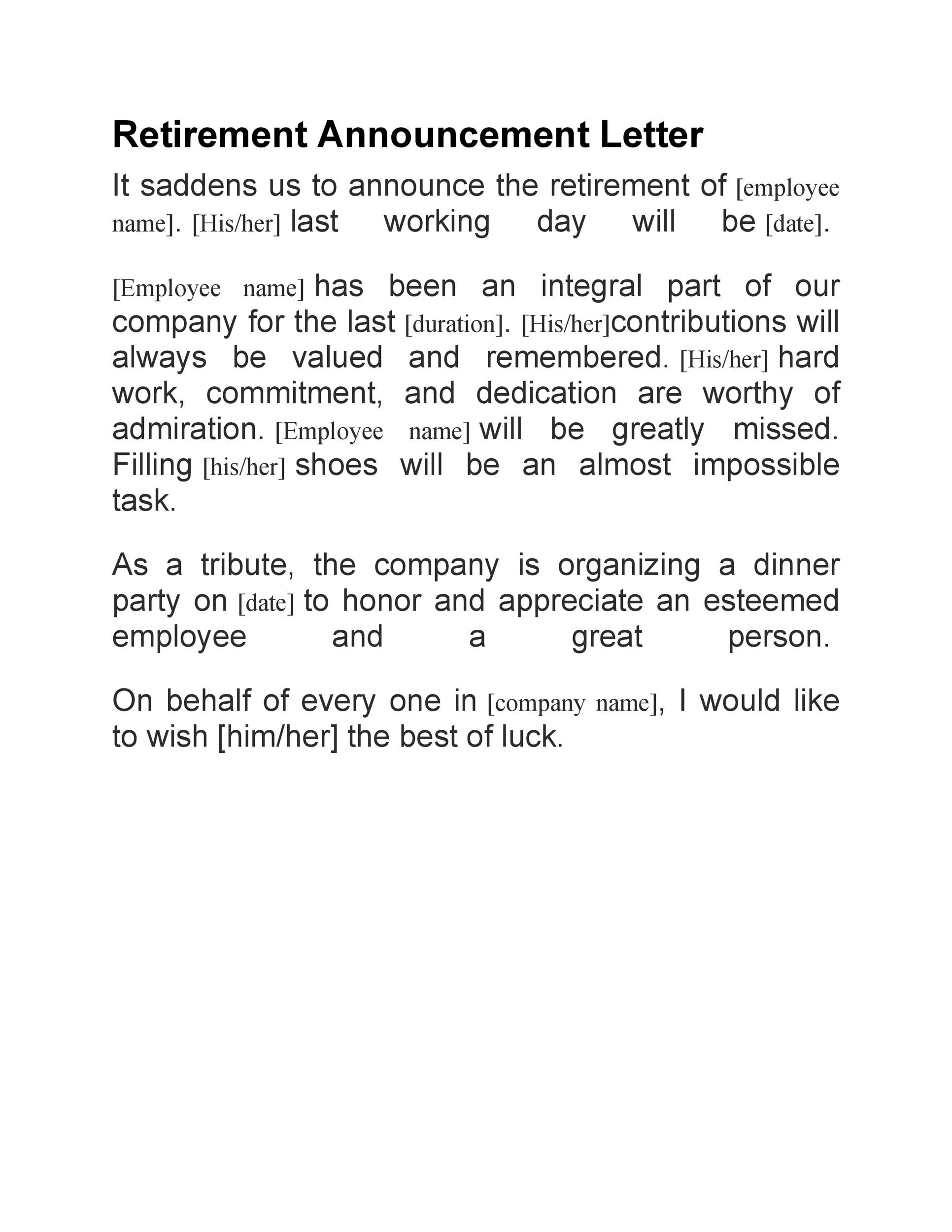 38 professional retirement announcement