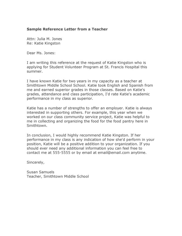Recommendation Letters For Student