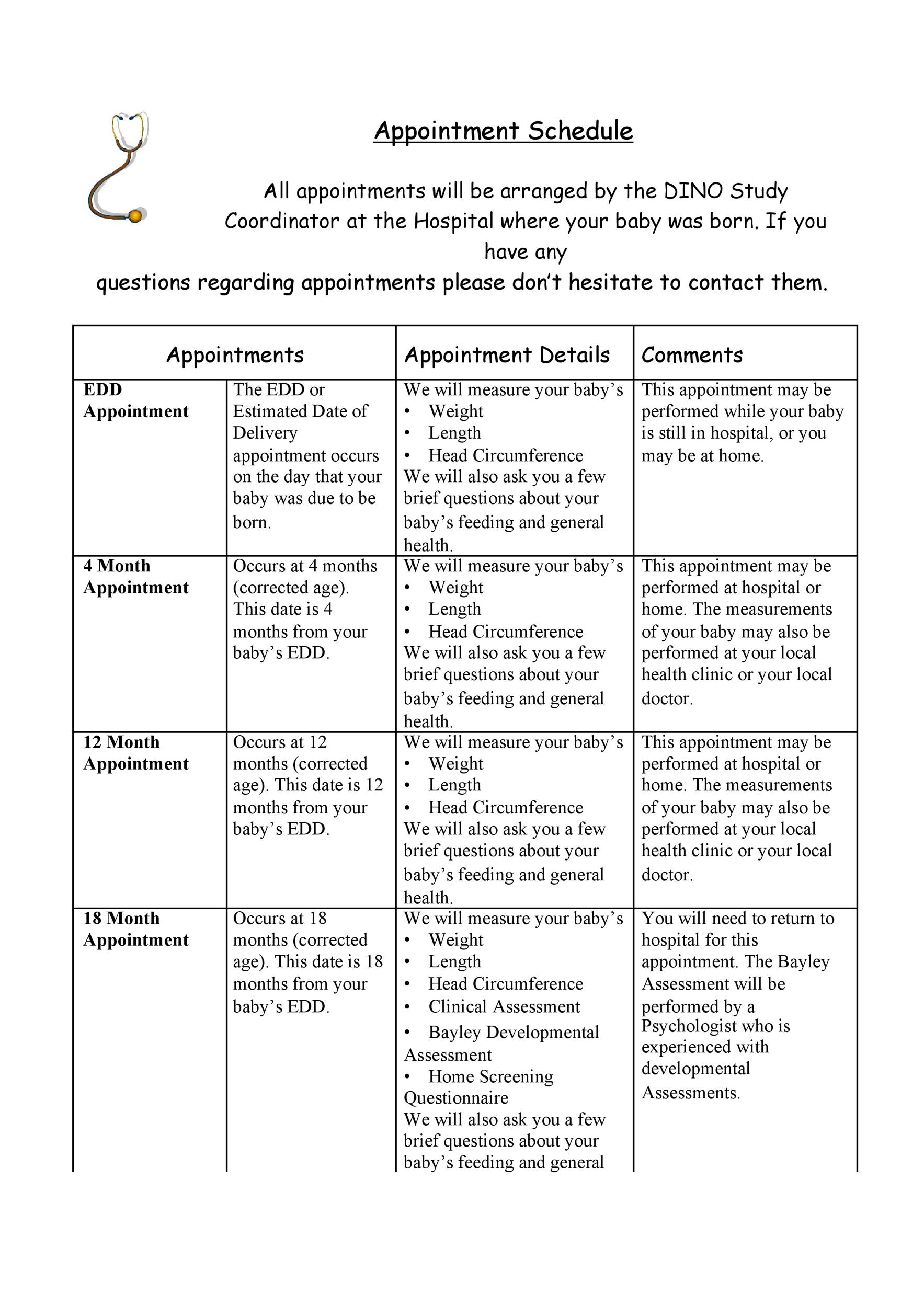 printable appointment schedule template