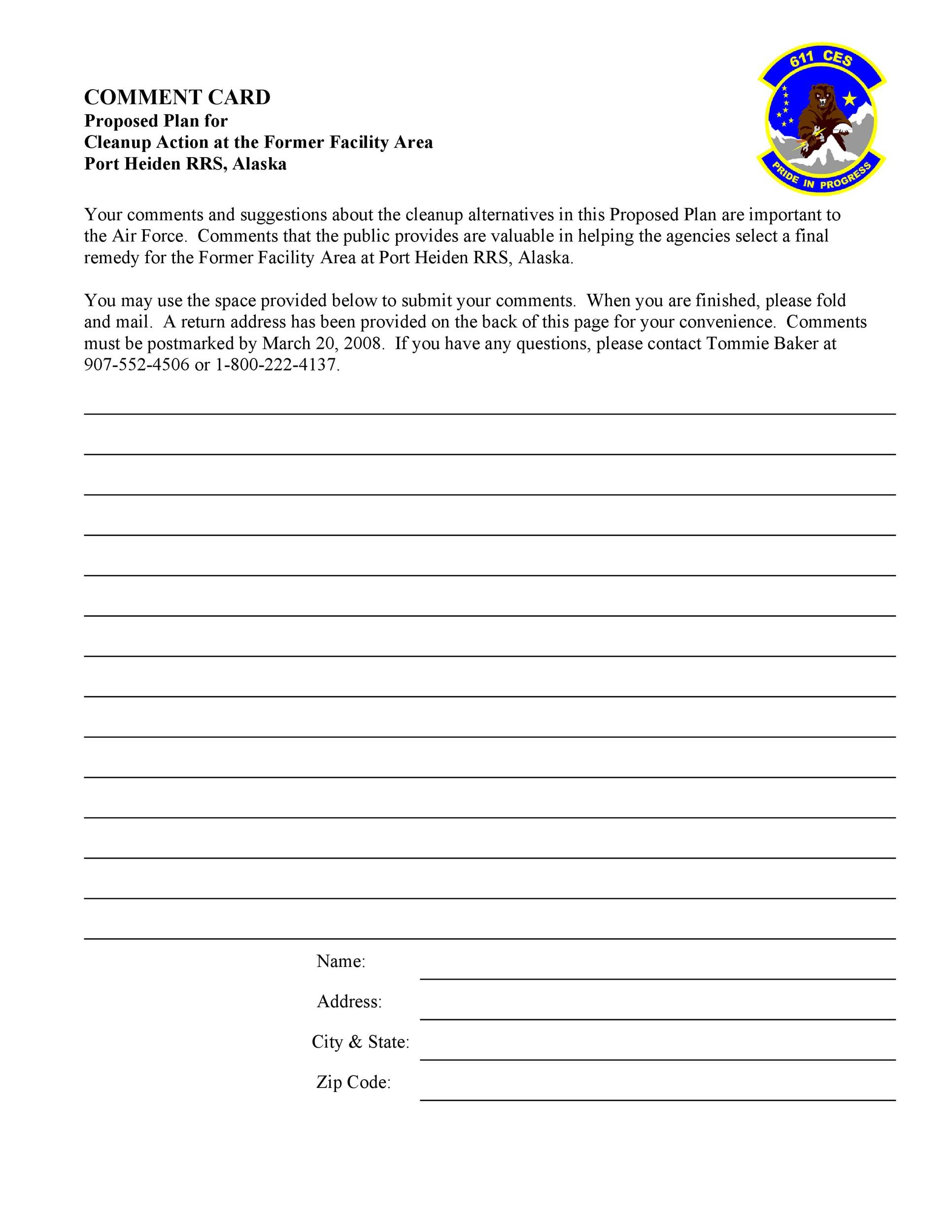 Comment Card Templates For 2021 Printable And Downloadable Gust