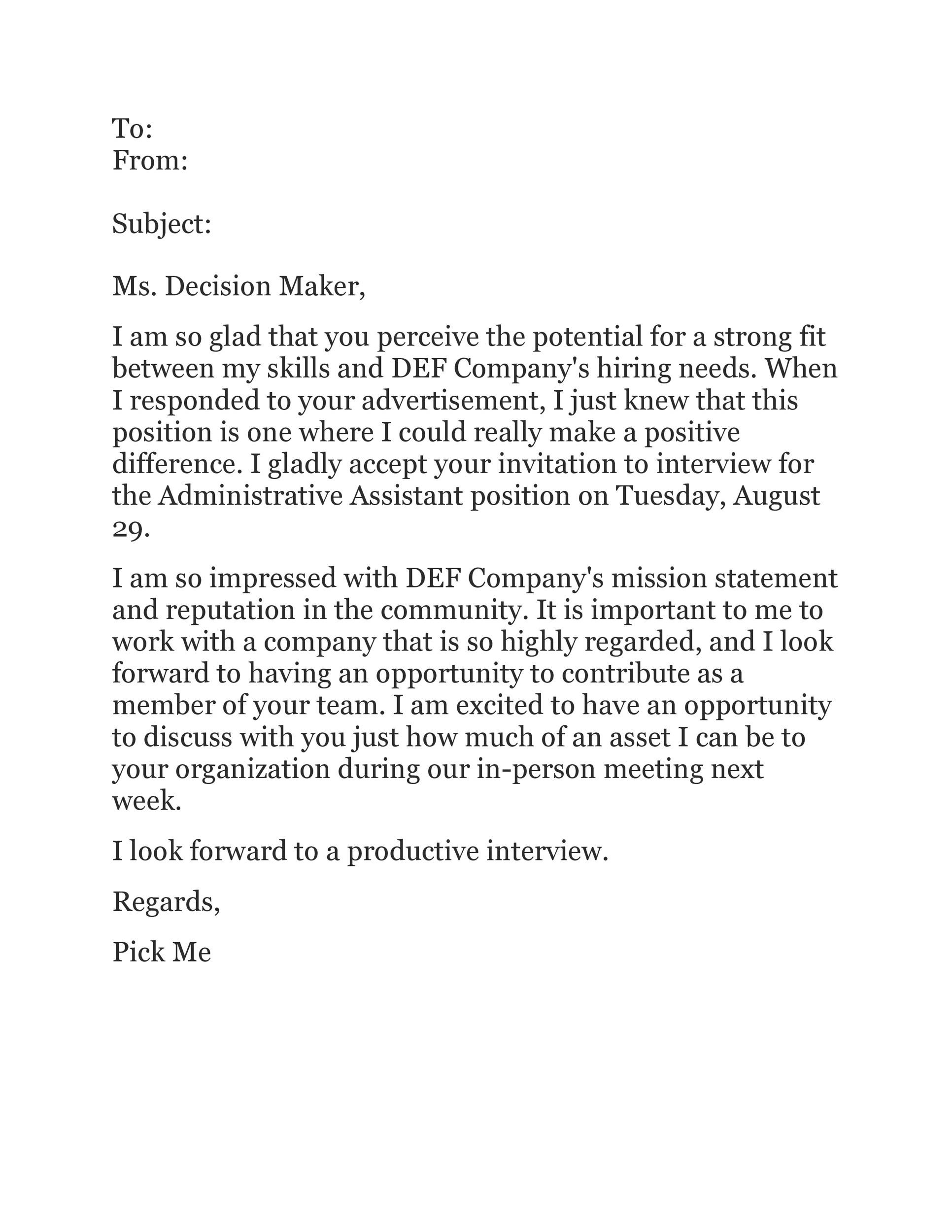 38 Professional Interview Acceptance Emails (+Smart Tips) ᐅ TemplateLab