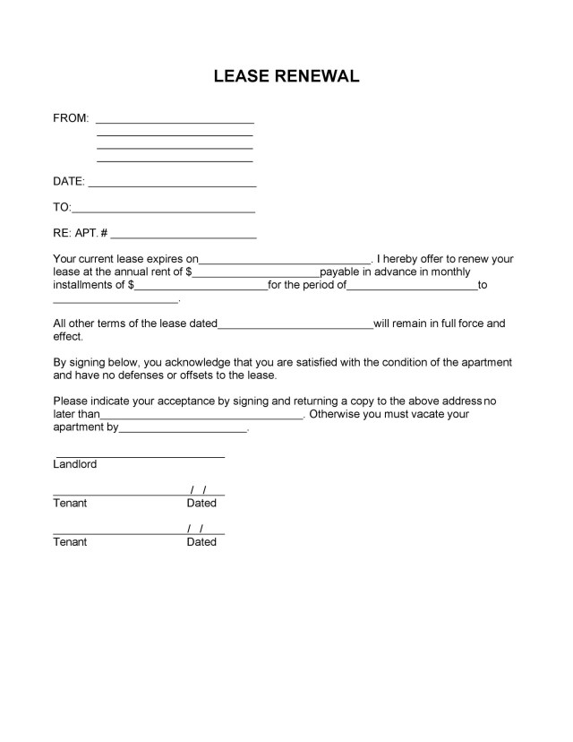 26 Best Lease Renewal Letters & Forms (Word & PDF) ᐅ TemplateLab