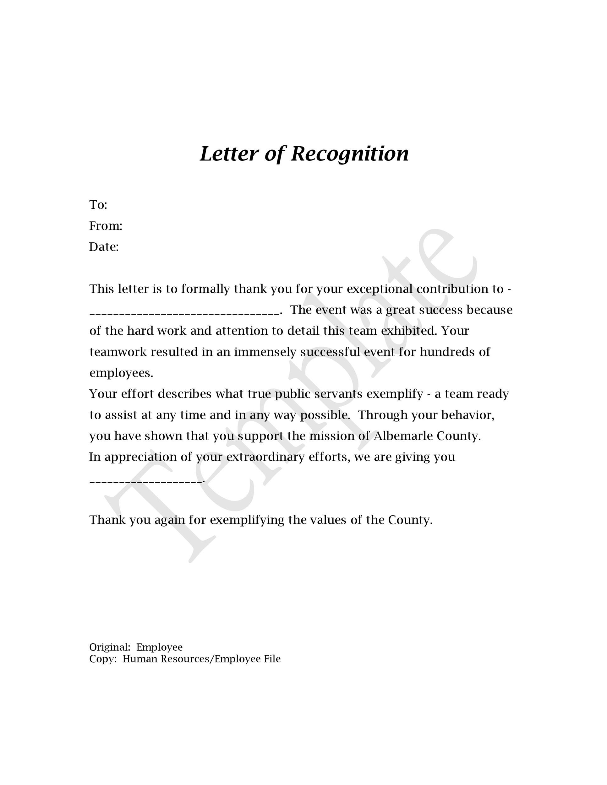 49 Printable Employee Recognition Letters 100 Free