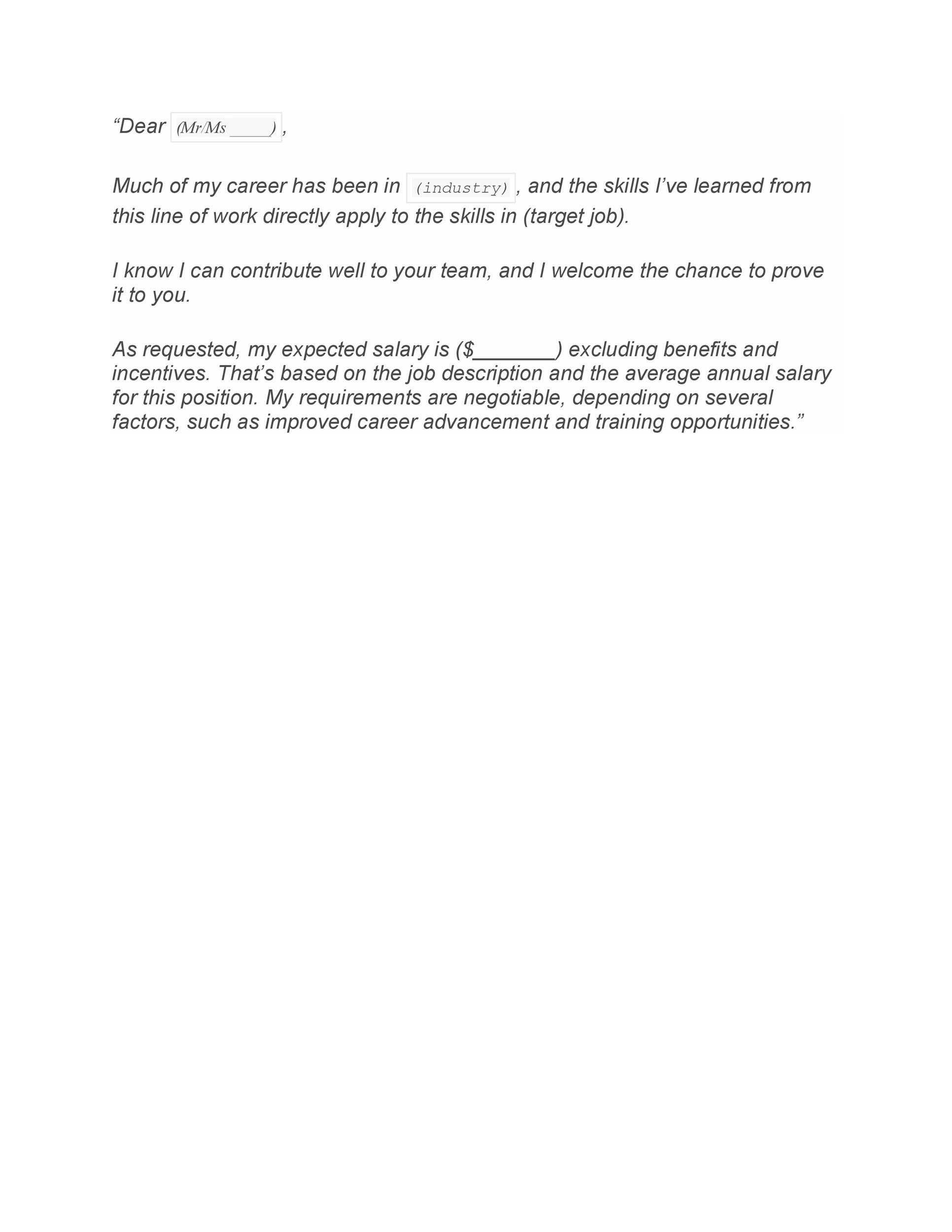 34 Best Salary Requirements Cover Letters Tips  Template Lab