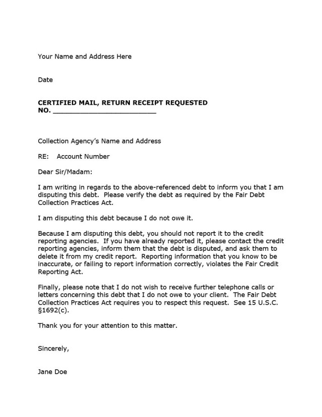 Letter To Creditor Template Kampa