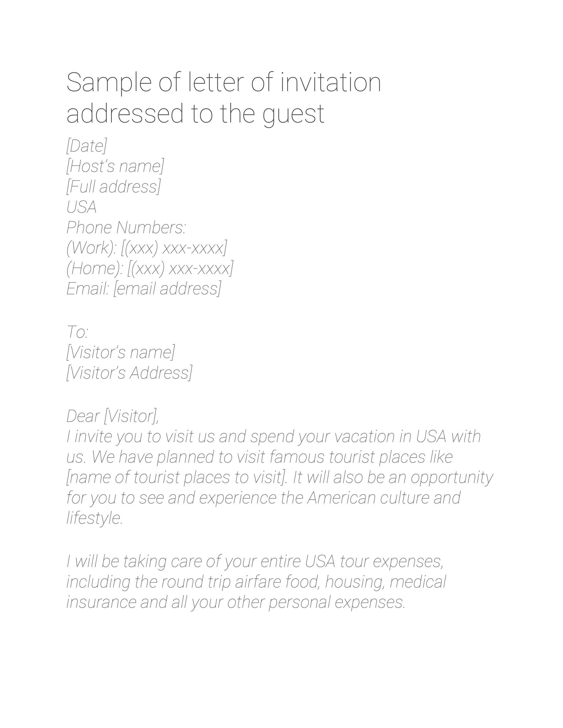 50 Best Invitation Letters (for Visa & General) ᐅ TemplateLab