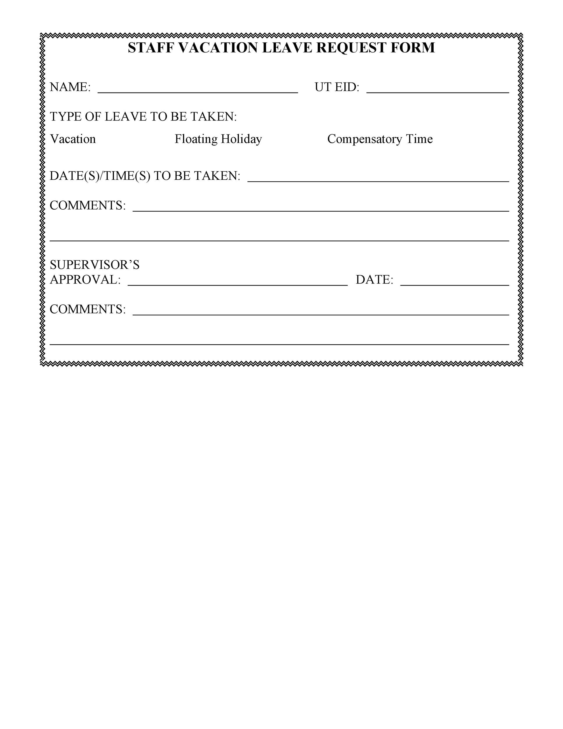 50 Professional Employee Vacation Request Forms Word ᐅ Templatelab