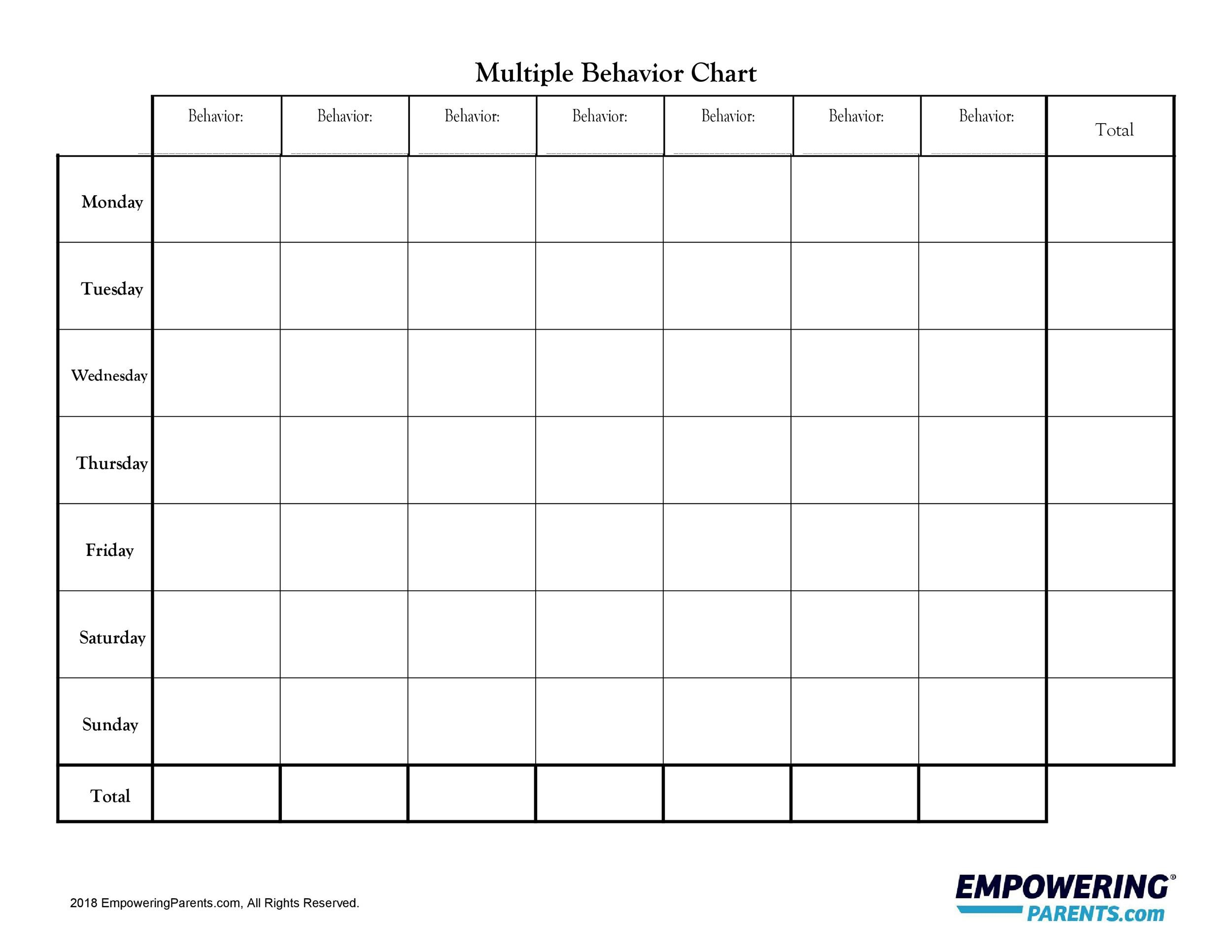 42 Printable Behavior Chart Templates For Kids Templatelab