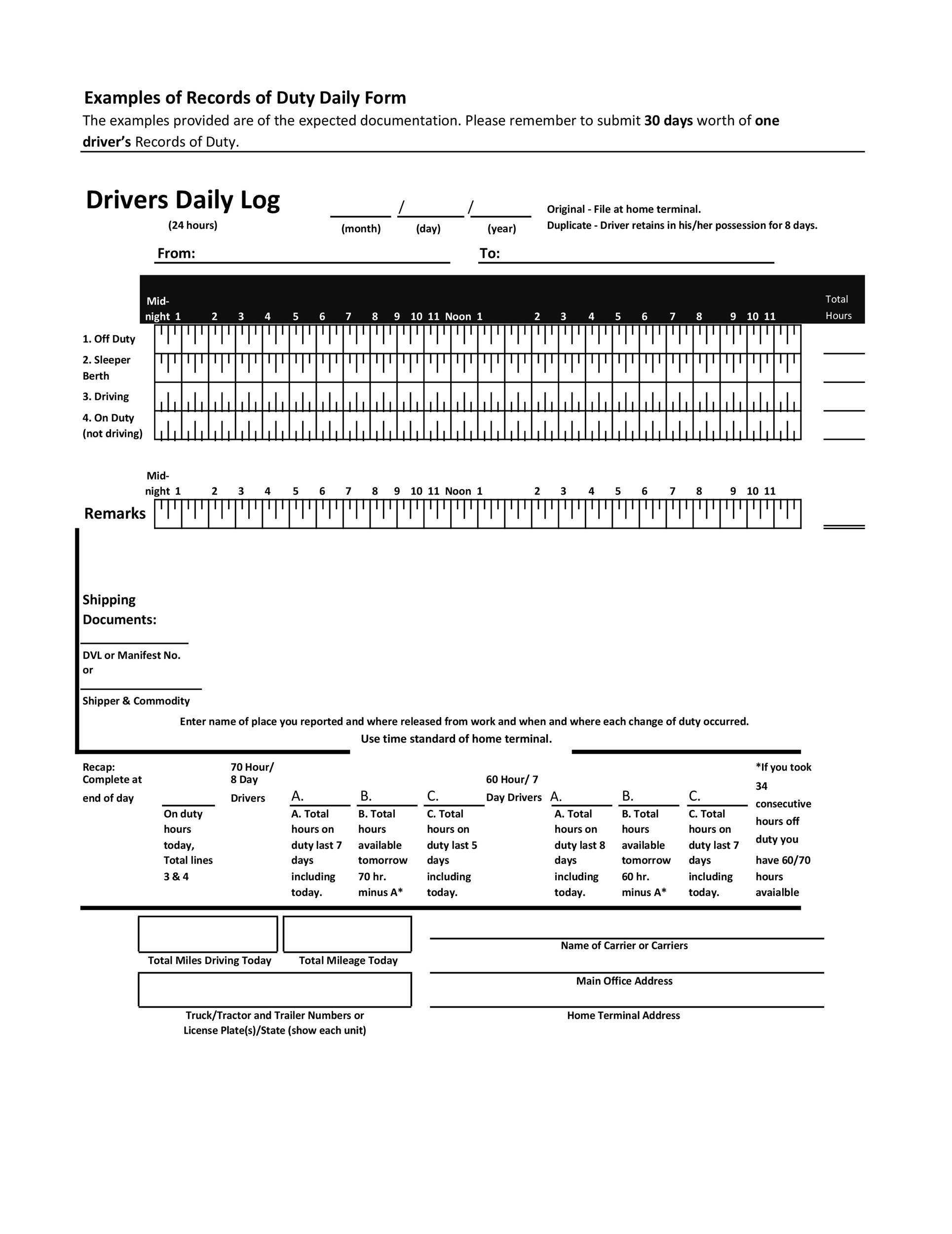 50 Printable Driver's Daily Log Books [Templates & Examples]