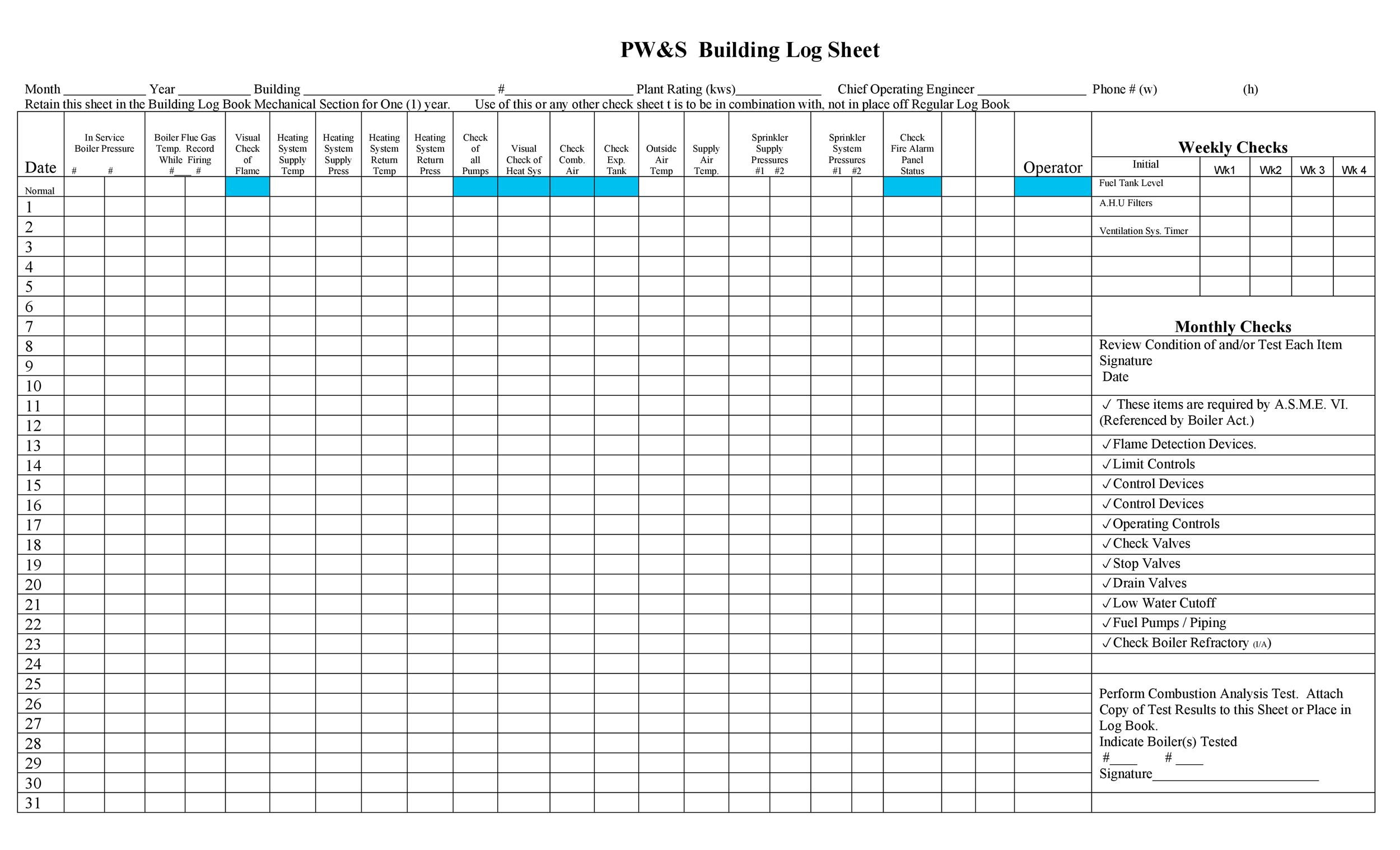 50 Printable Log Sheet Templates Direct Download Template Lab