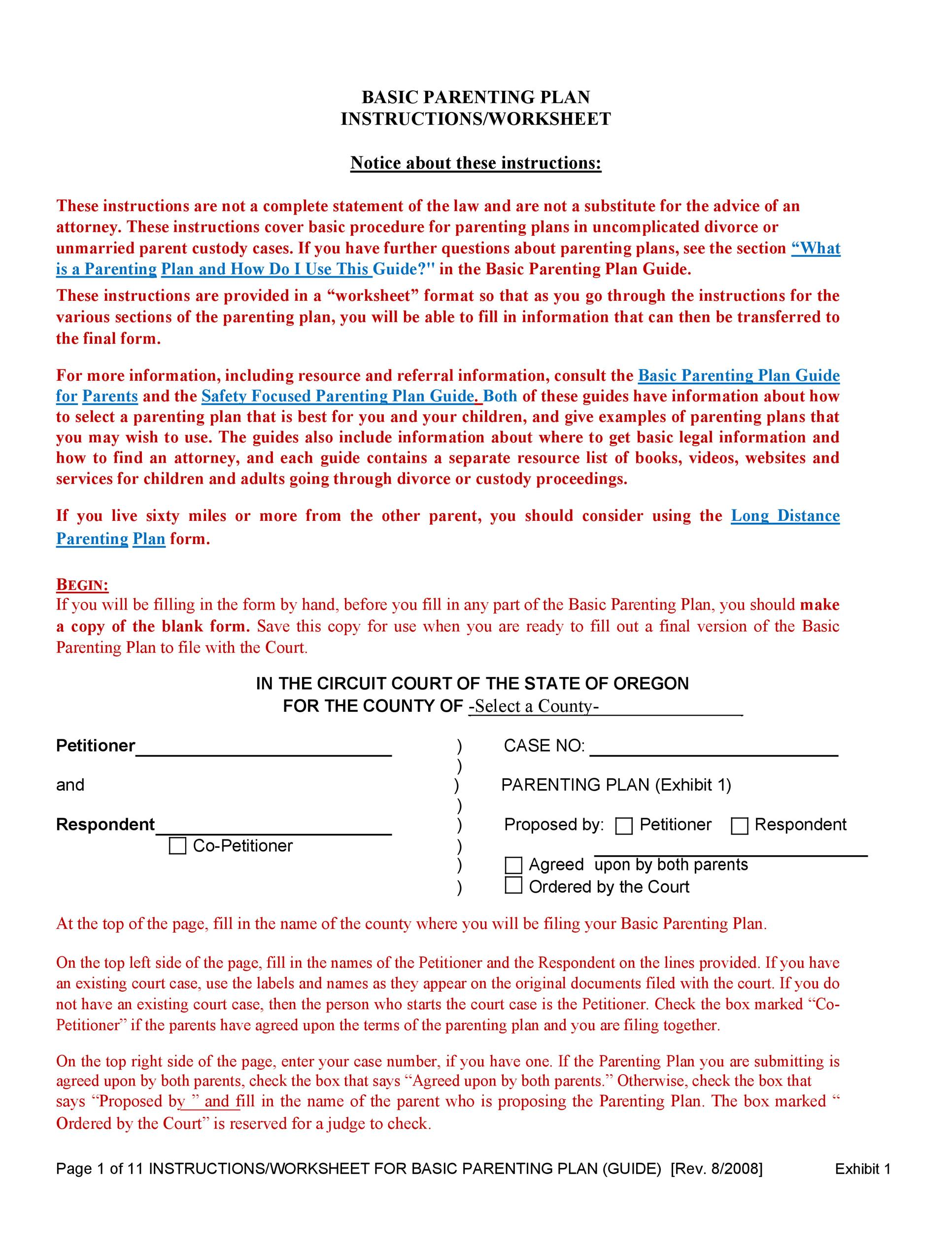 49 Free Parenting Plan Amp Custody Agreement Templates