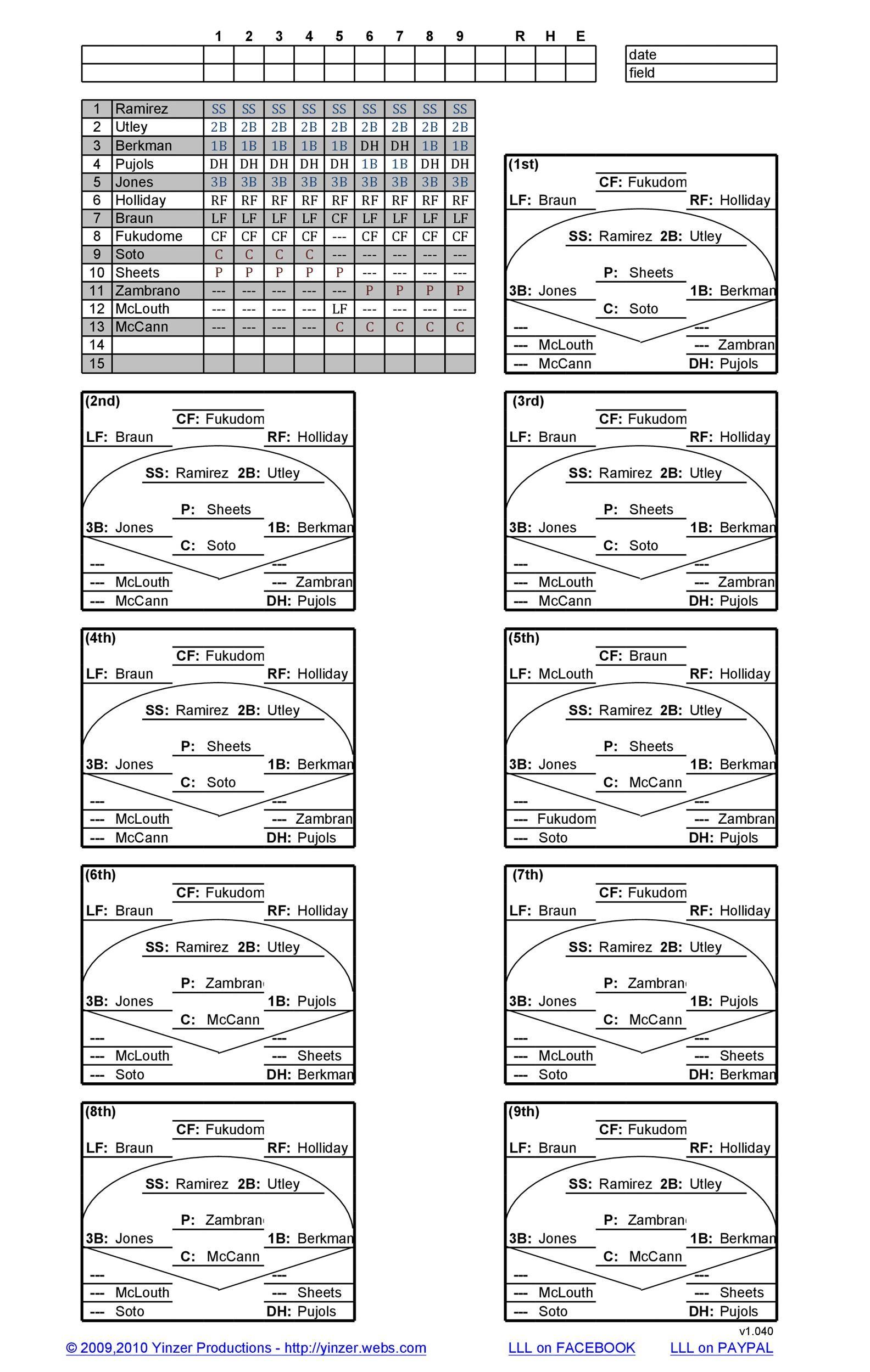 33 Printable Baseball Lineup Templates [Free Download] ᐅ