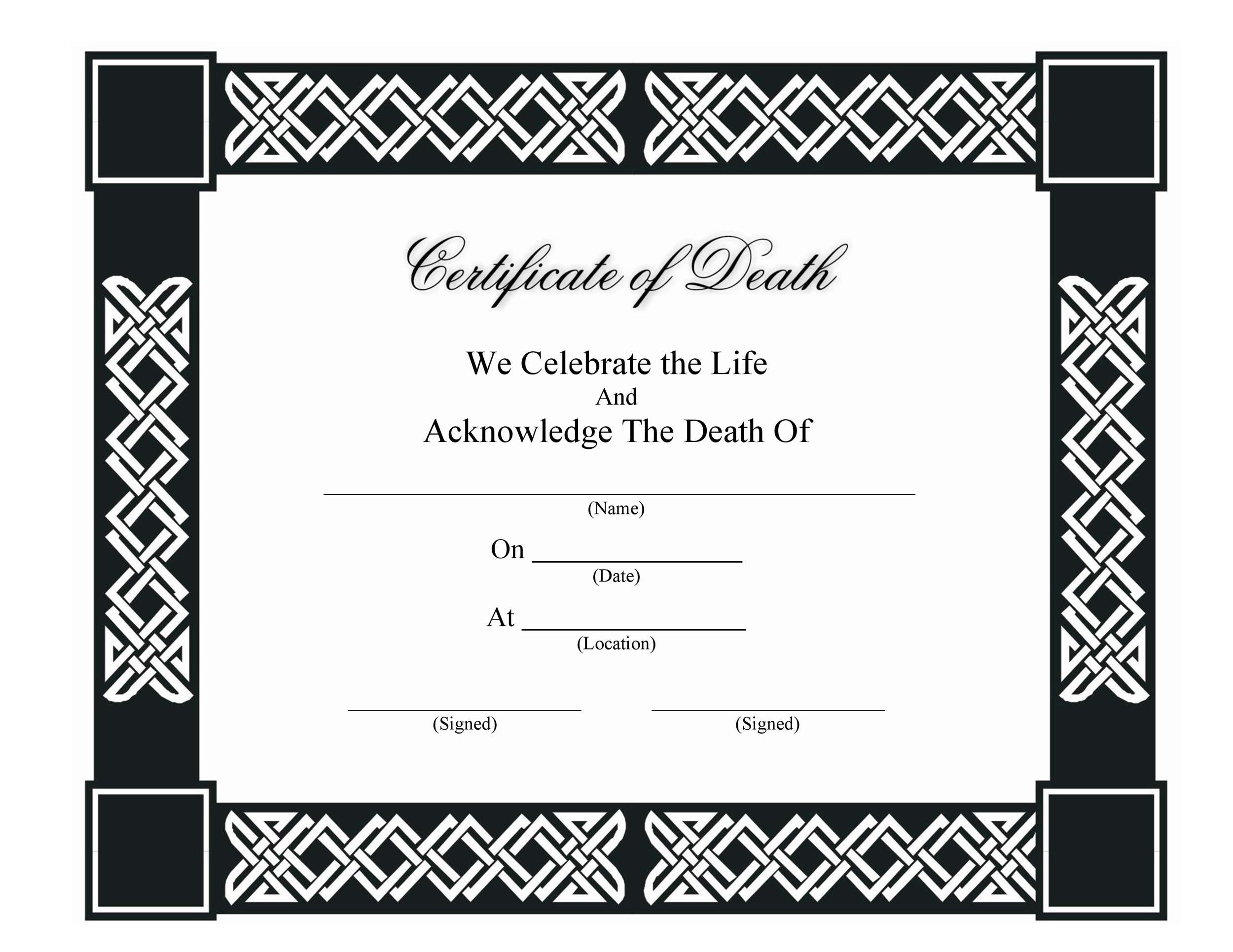 37 Blank Death Certificate Templates [100% FREE] ᐅ