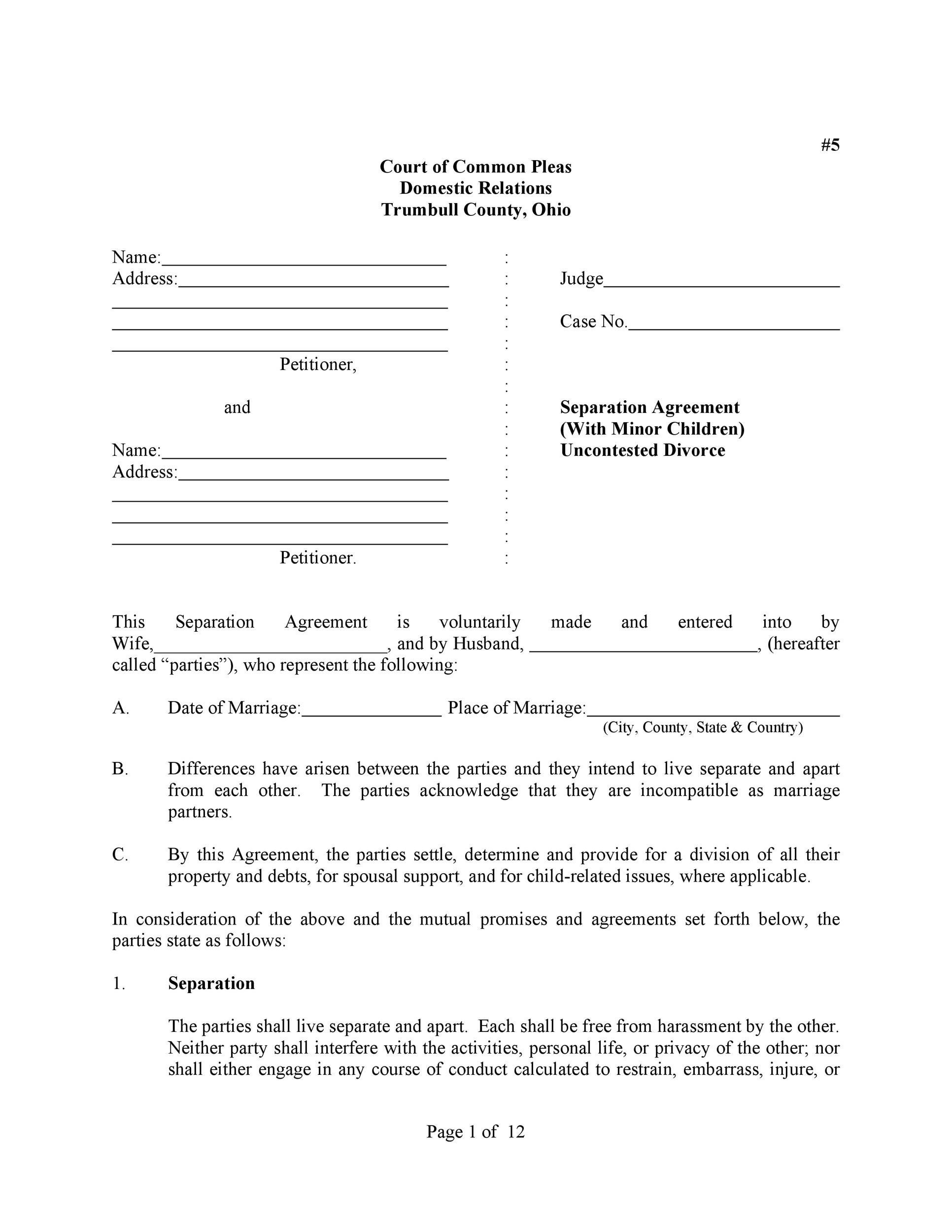 42 Divorce Settlement Agreement Templates 100 Free