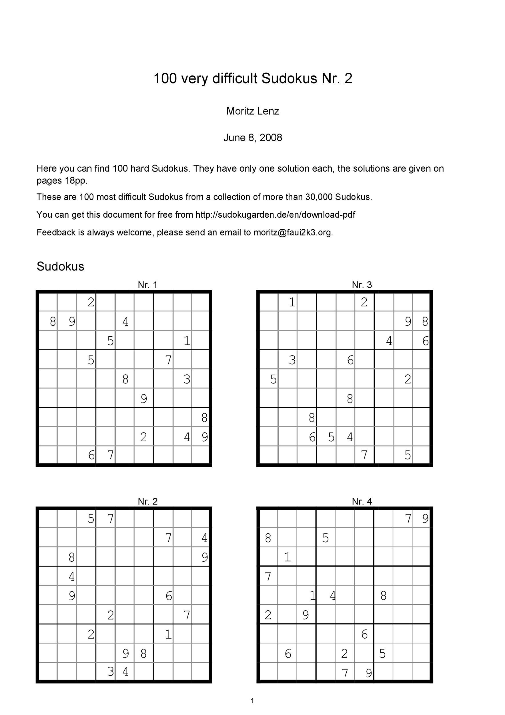 Printable Hard Sudoku Page