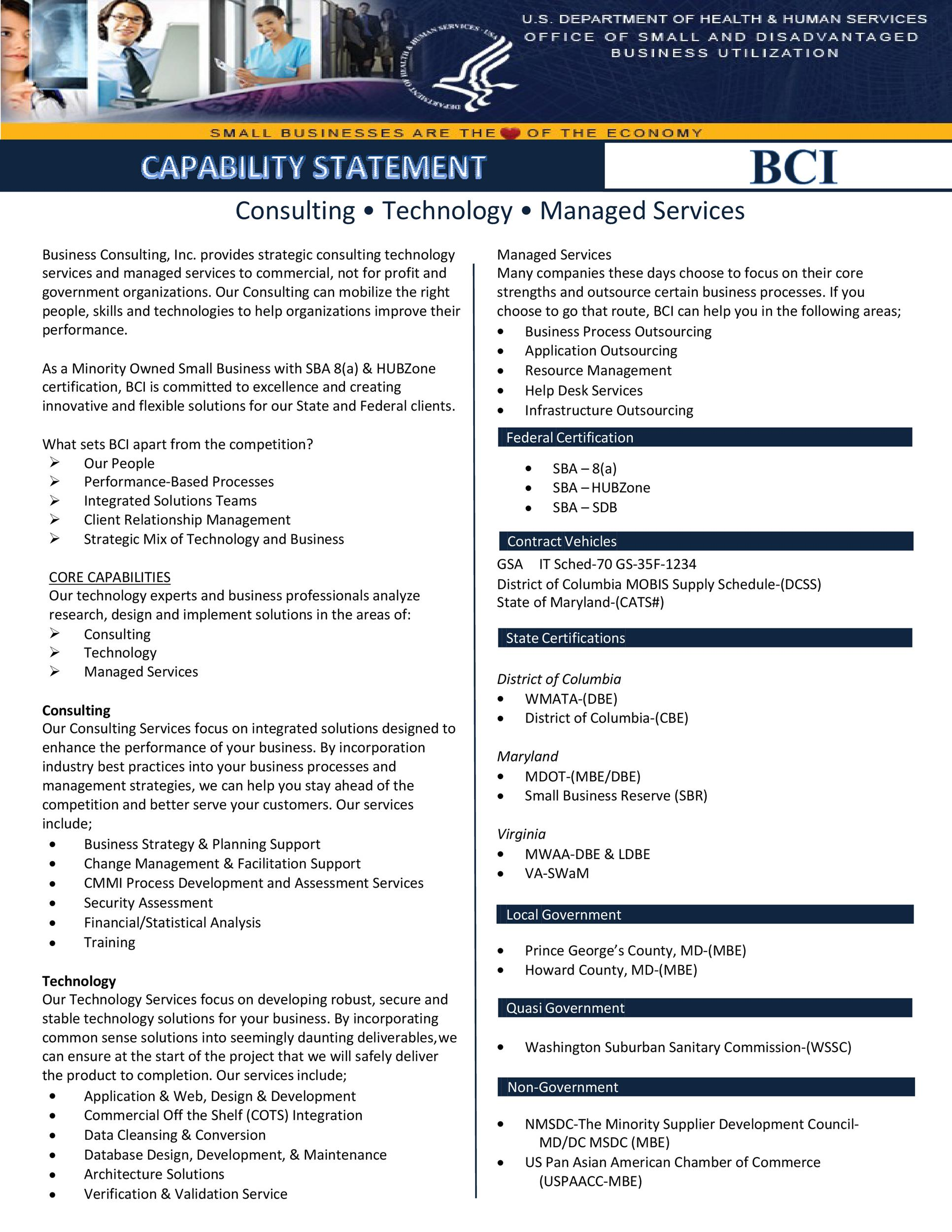 39 Effective Capability Statement Templates Examples