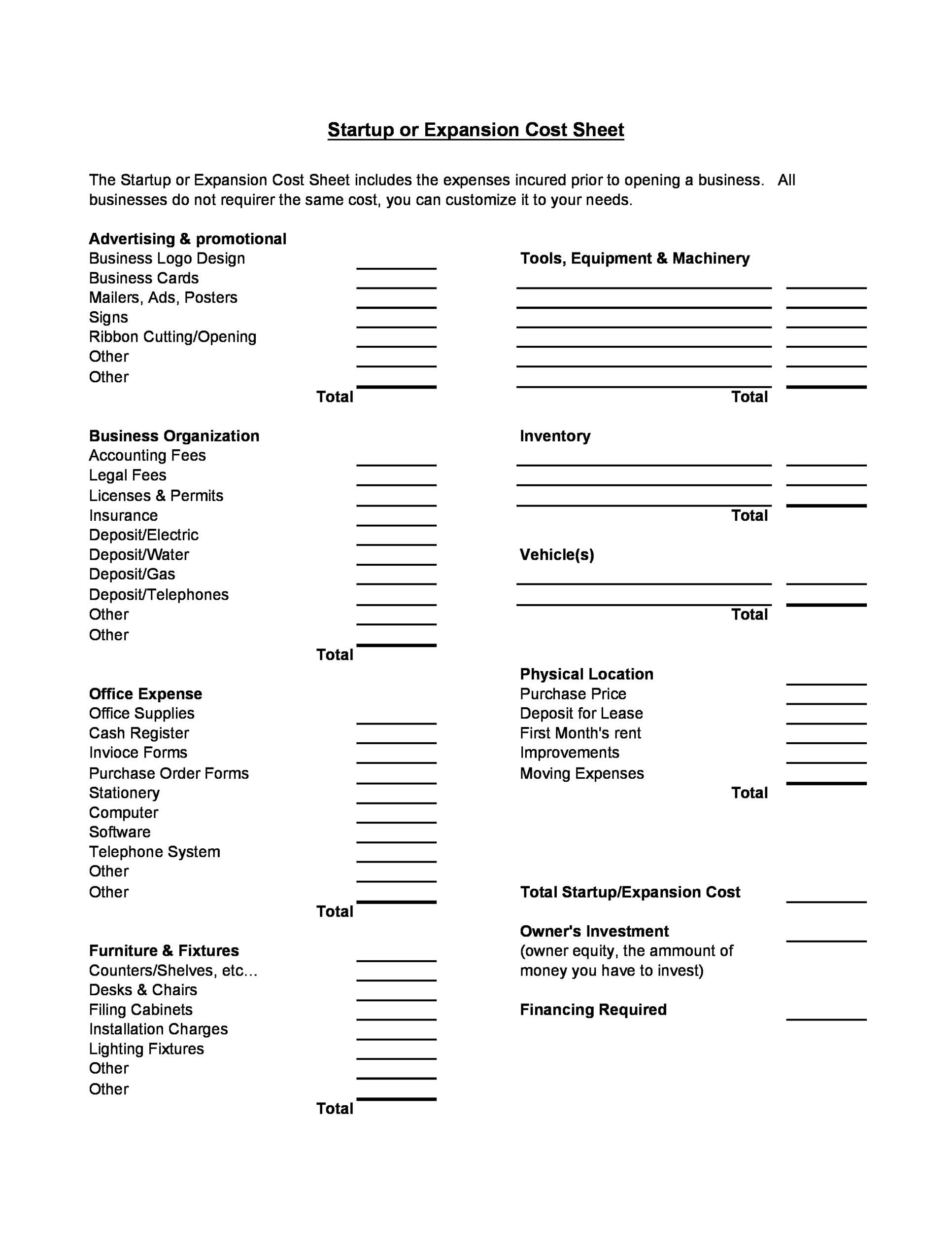 Startup Cost Worksheet