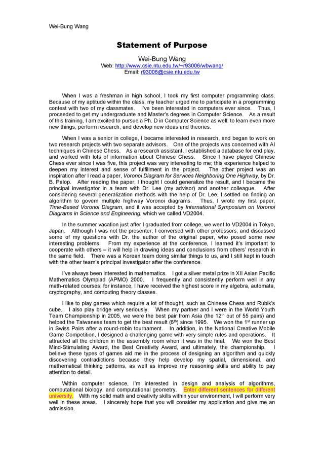 7 Statement Of Purpose Examples (Graduate School, MBA, PhD) ᐅ