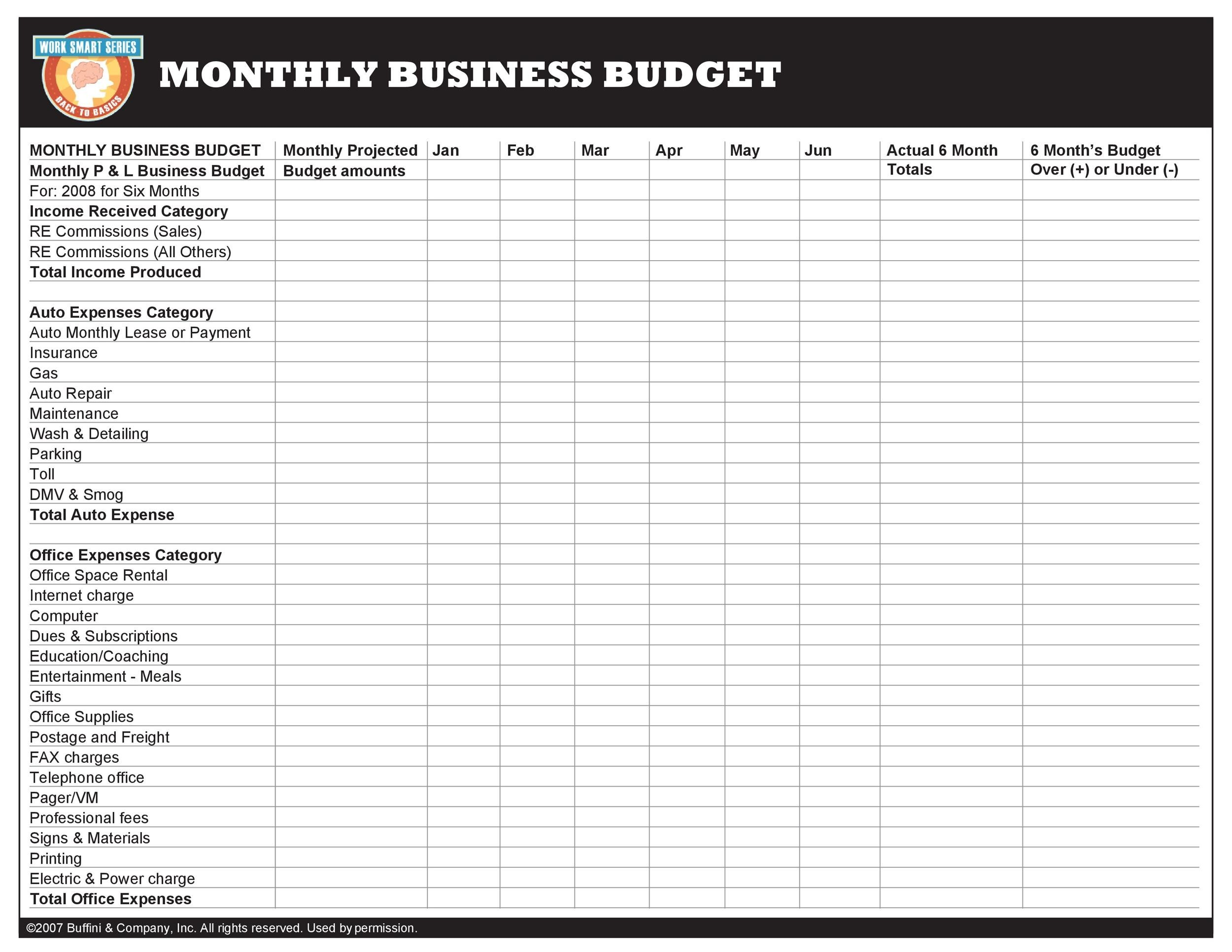 Get 10 Get Sample Business Budget Plan Excel
