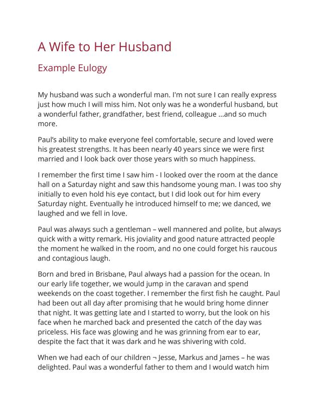 22 Best Eulogy Templates (For Relatives or Friends) ᐅ TemplateLab