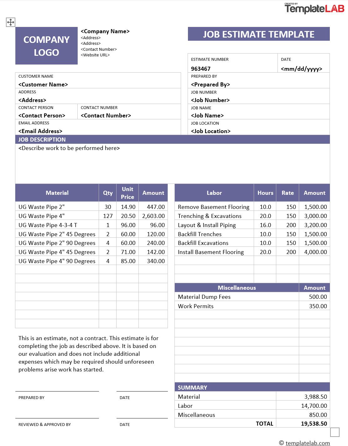 Flooring Estimate Worksheet