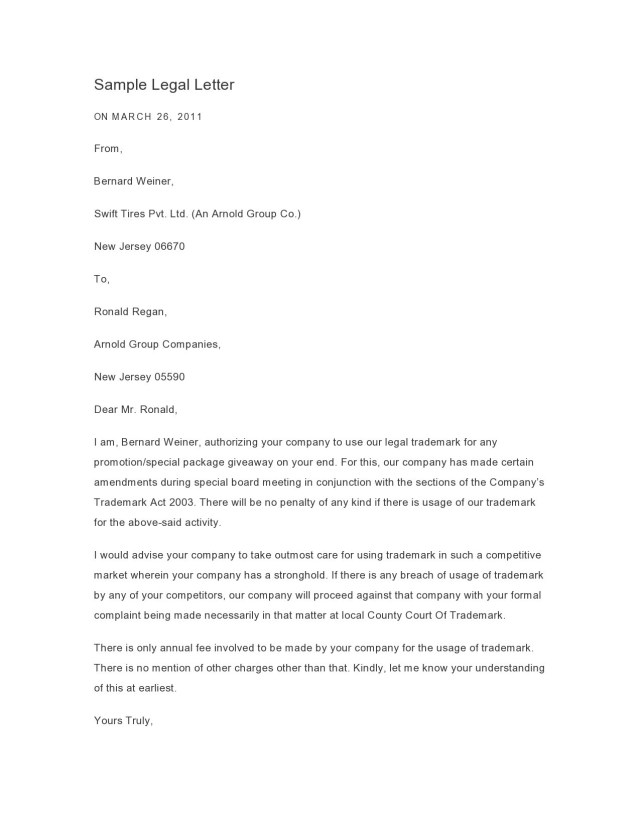 9 Professional Legal Letter Formats (& Templates) ᐅ TemplateLab