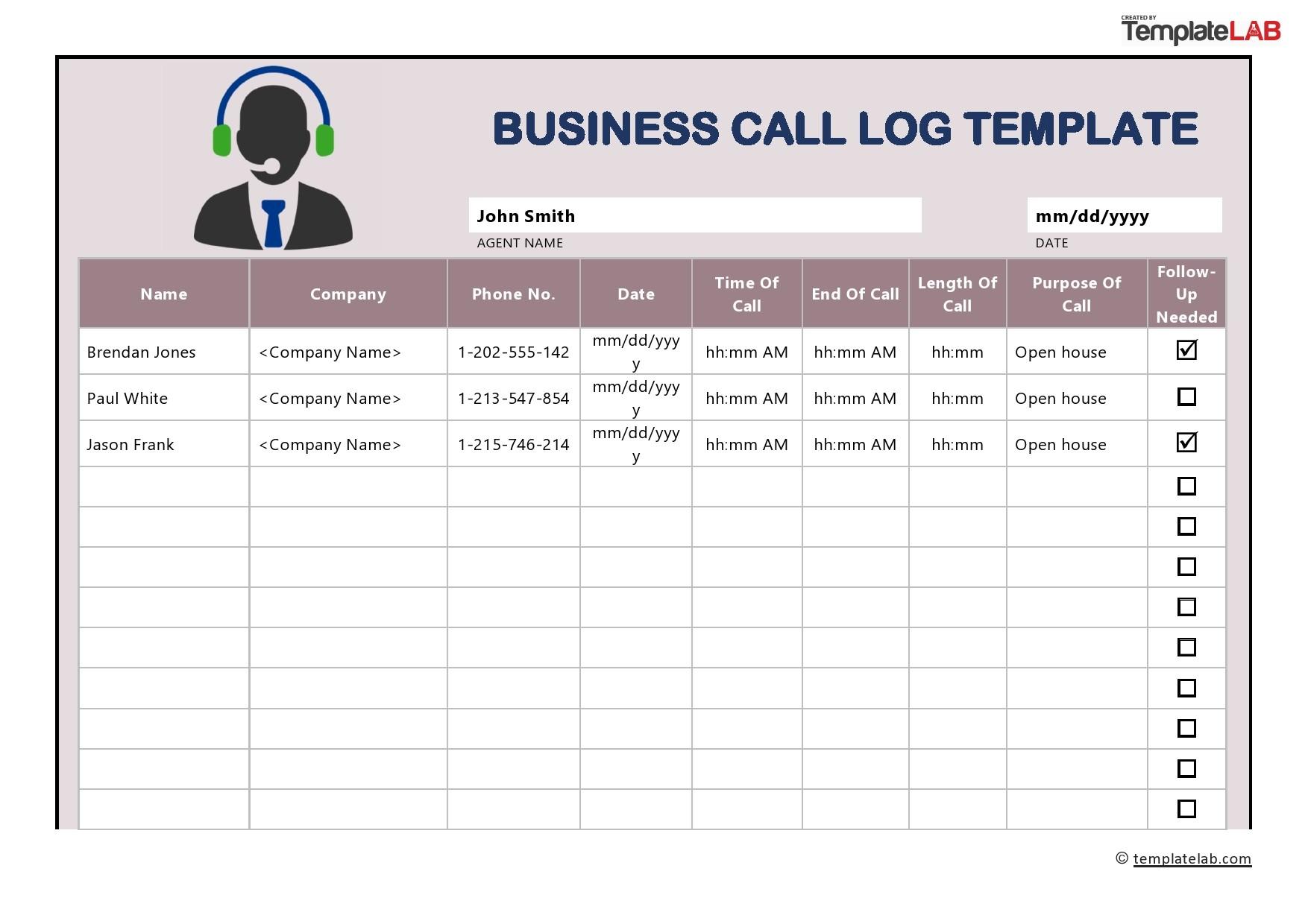 40 Printable Call Log Templates Word Excel