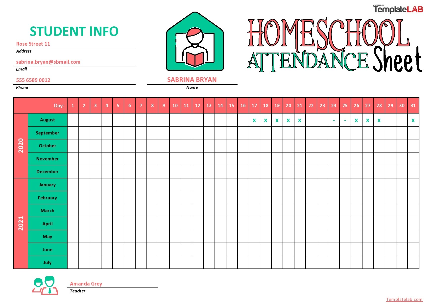 hight resolution of 43 Free Printable Attendance Sheet Templates - TemplateLab