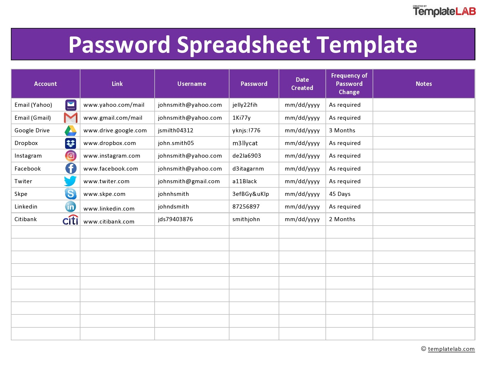 Enjoy the convenience of this printable password list to meet all your password management and storage requirements. 33 Best Password List Templates Word Excel Pdf Á… Templatelab