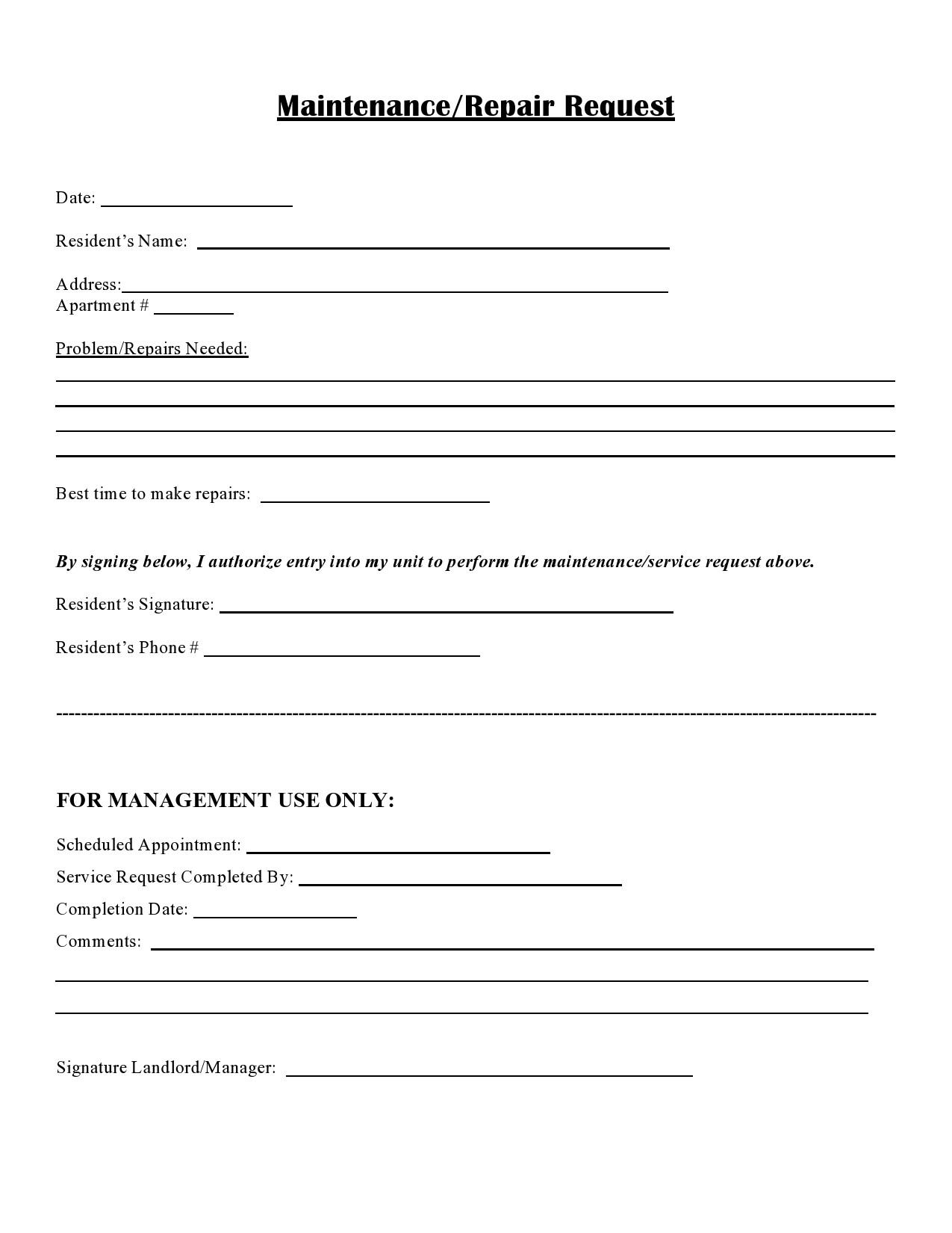 Maintenance or custodial work request. 54 Maintenance Request Form Templates Free Á… Templatelab