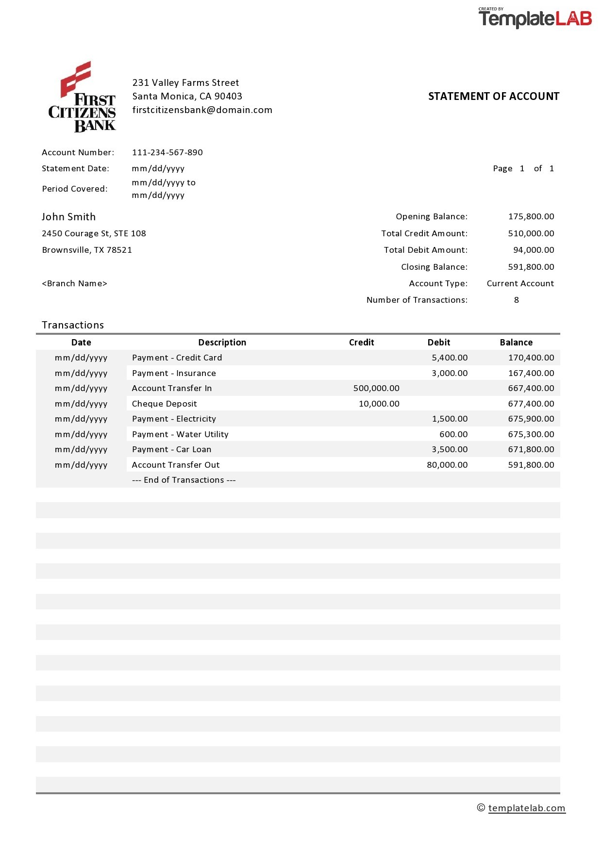 23 Editable Bank Statement Templates Free ᐅ Templatelab