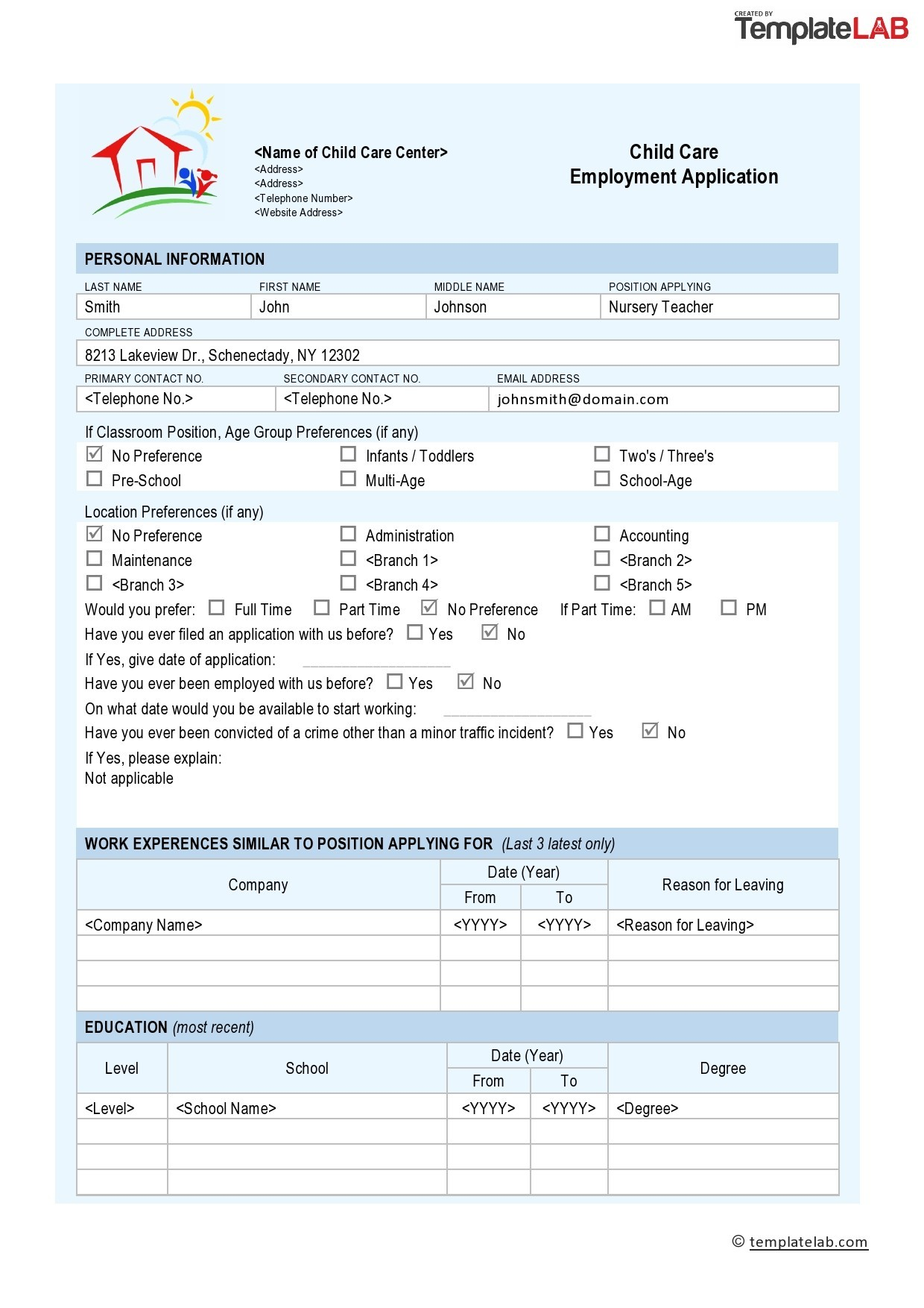 The commonly used business types in small company are. 50 Free Employment Job Application Form Templates Printable Á… Templatelab