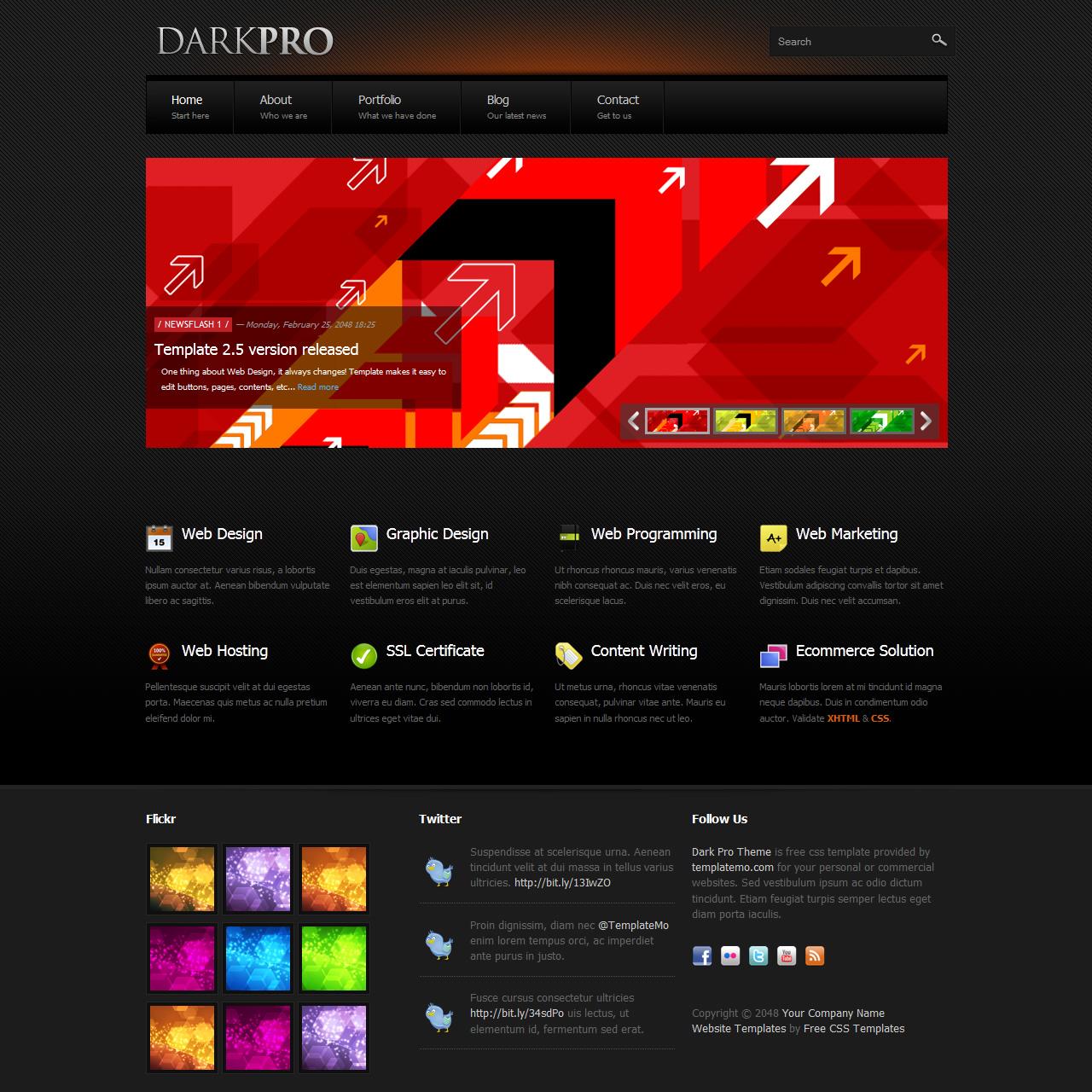 Free Template 347 Dark Pro