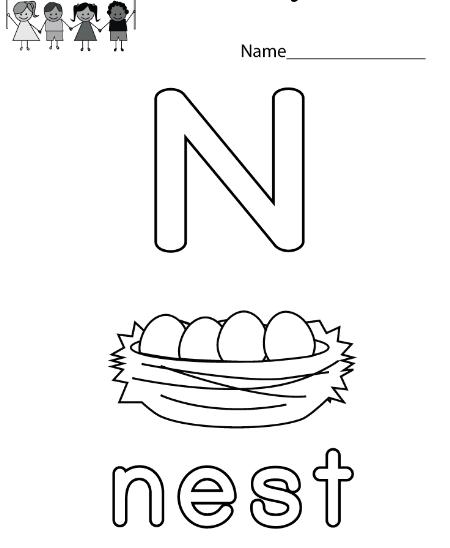 Letter N Worksheets for Preschool-Kindergarten Printable